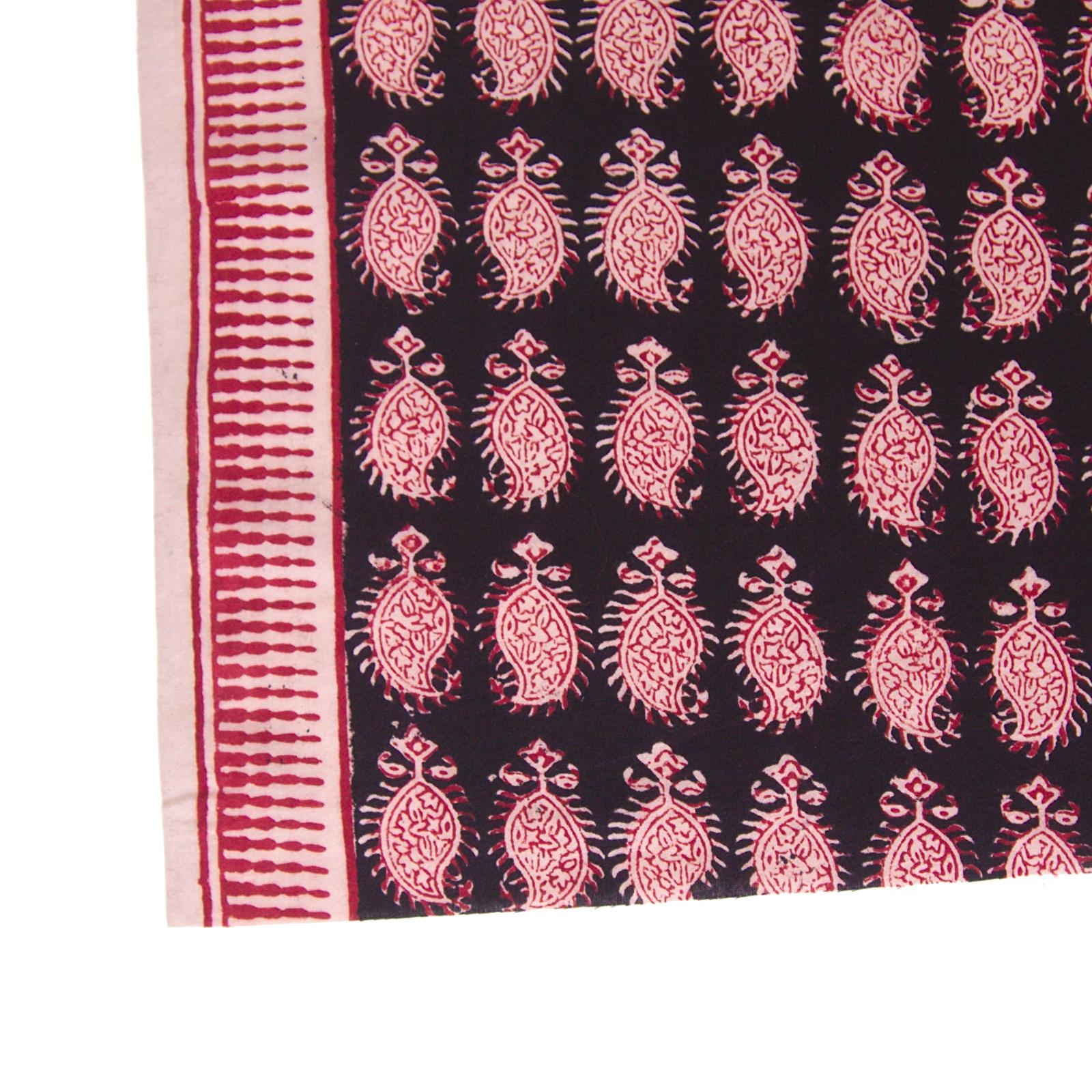 100% Block -Printed Cotton Fabric From India - Cactus Design - Iron Rust Black & Alizarin Red Dyes - Border - Live