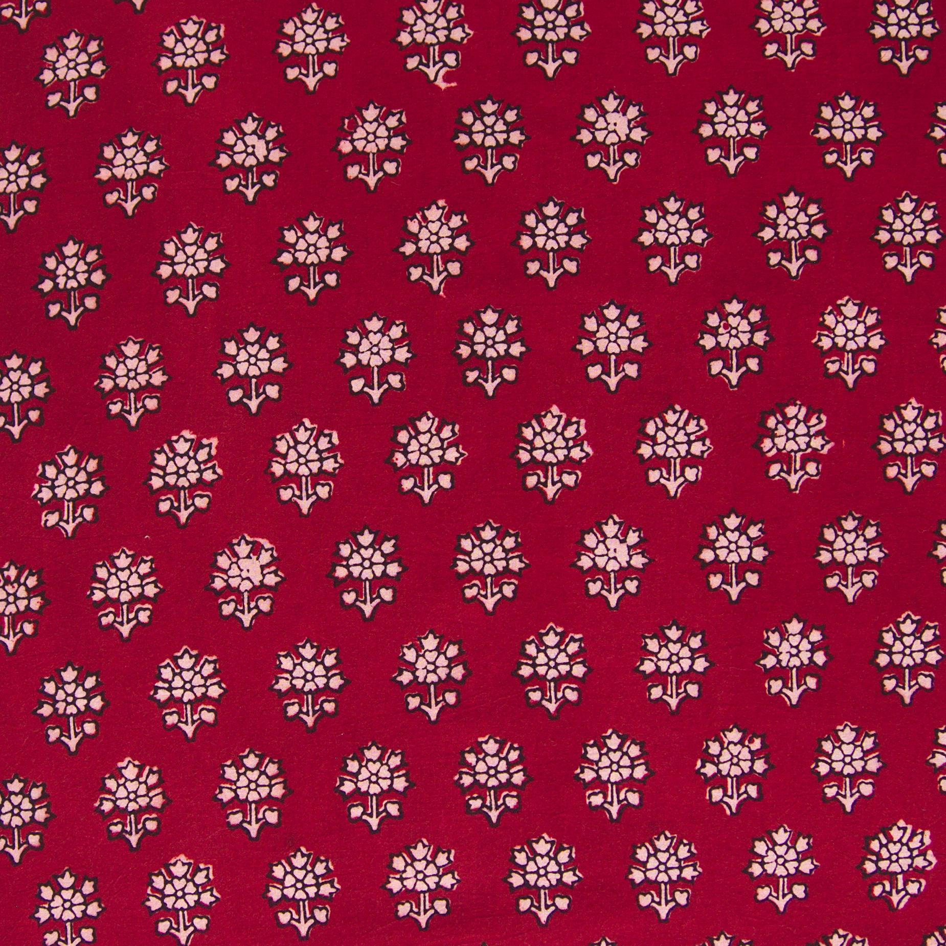 100% Block-Printed Cotton Fabric From India - New Perspective Design - Iron Rust Black & Alizarin Red Dyes - Flat - Live