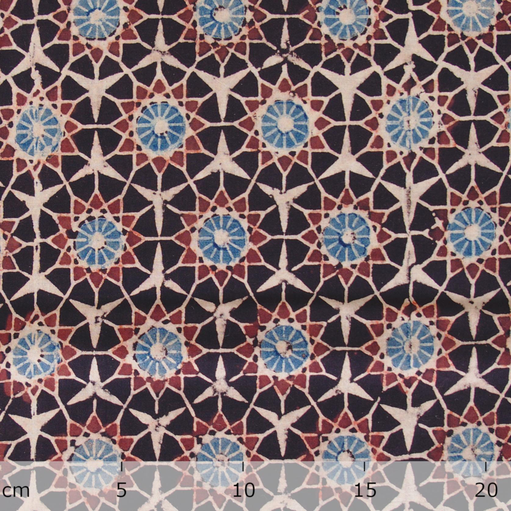Block Printed Fabric, 100% Cotton, Ajrak Design: Black Base, Madder Root Red, Blue, Cream Burst. Ruler