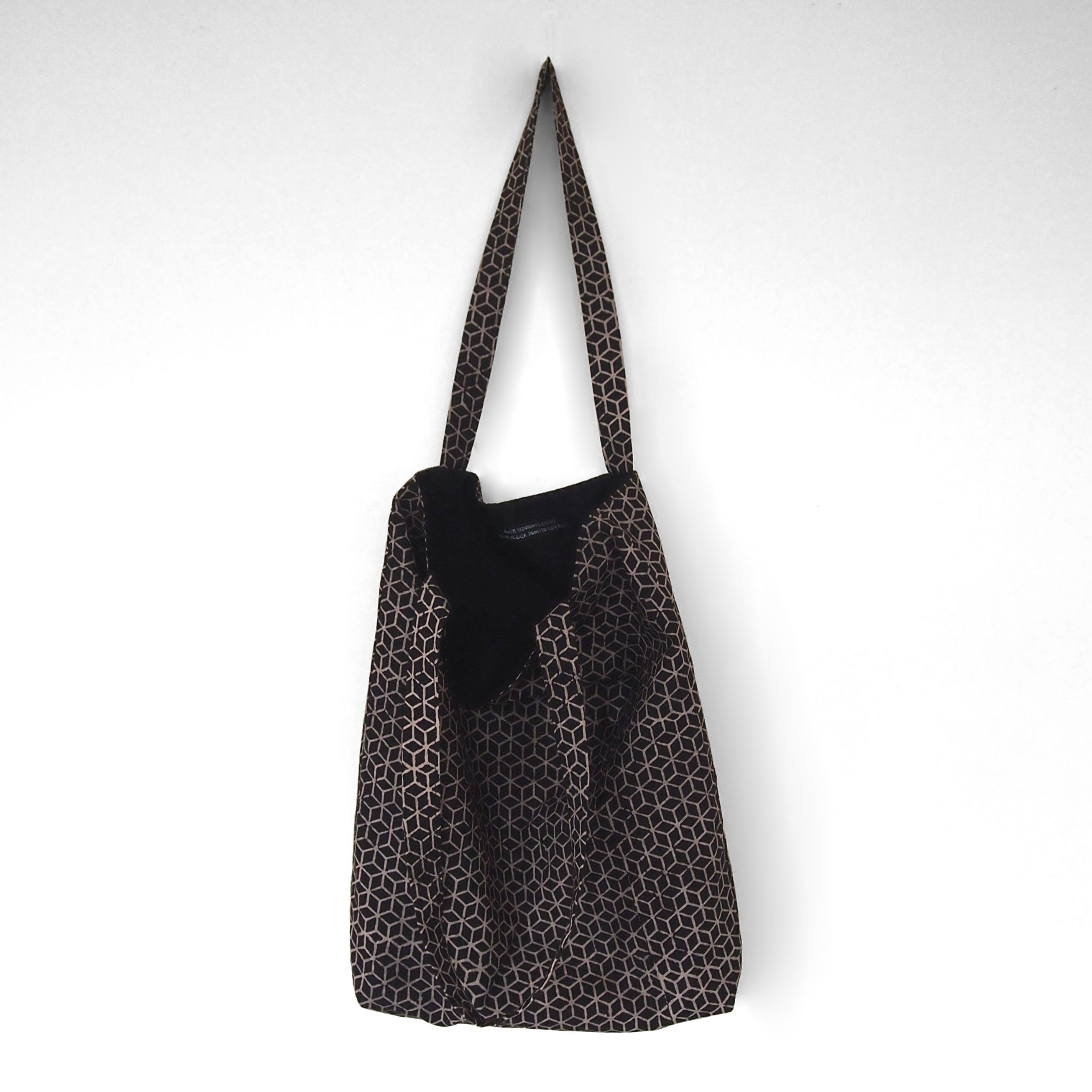block printed cotton tote bag, natural dye, black, beige tumbling block design, lined with black cotton, open