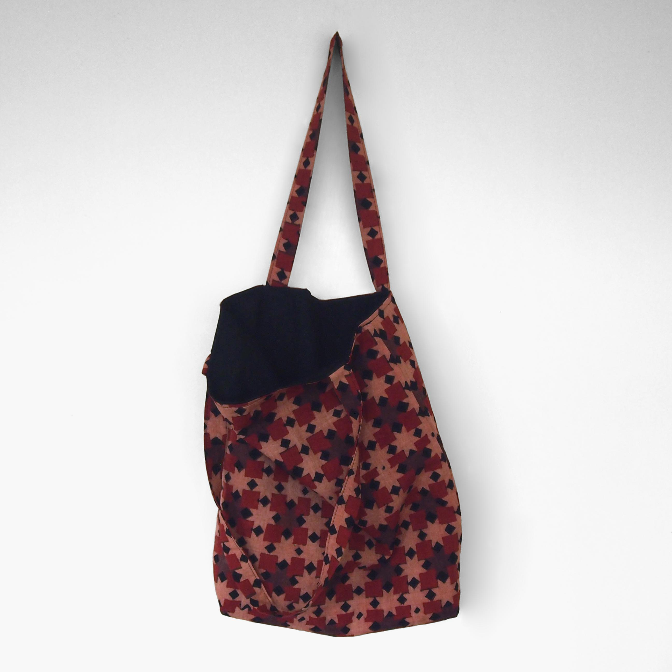 block printed cotton tote bag, pink, red ochre black square design, natural dye, lined with black cotton, open