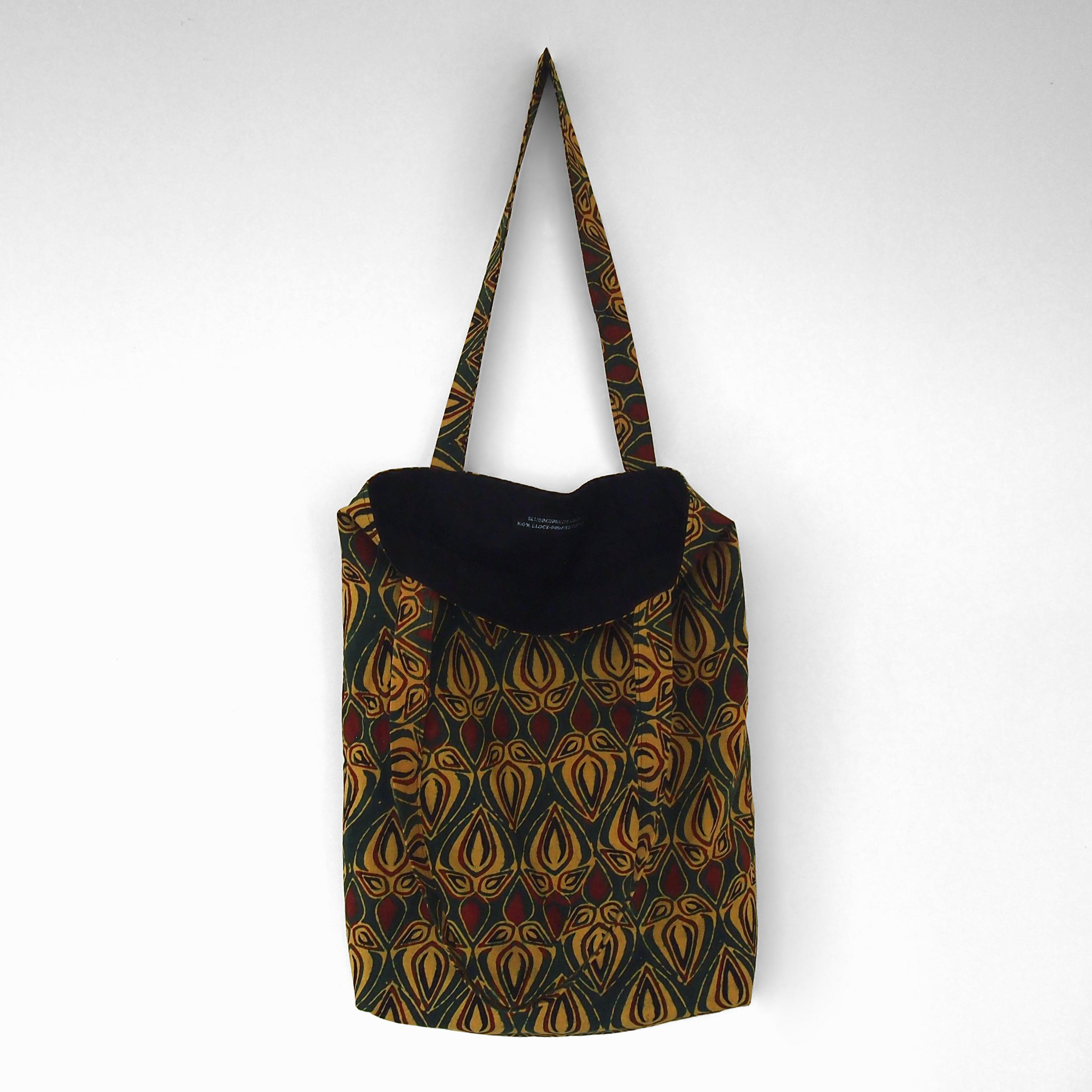 block printed cotton tote bag, green, yellow red bud, natural dye, lined with black cotton, open