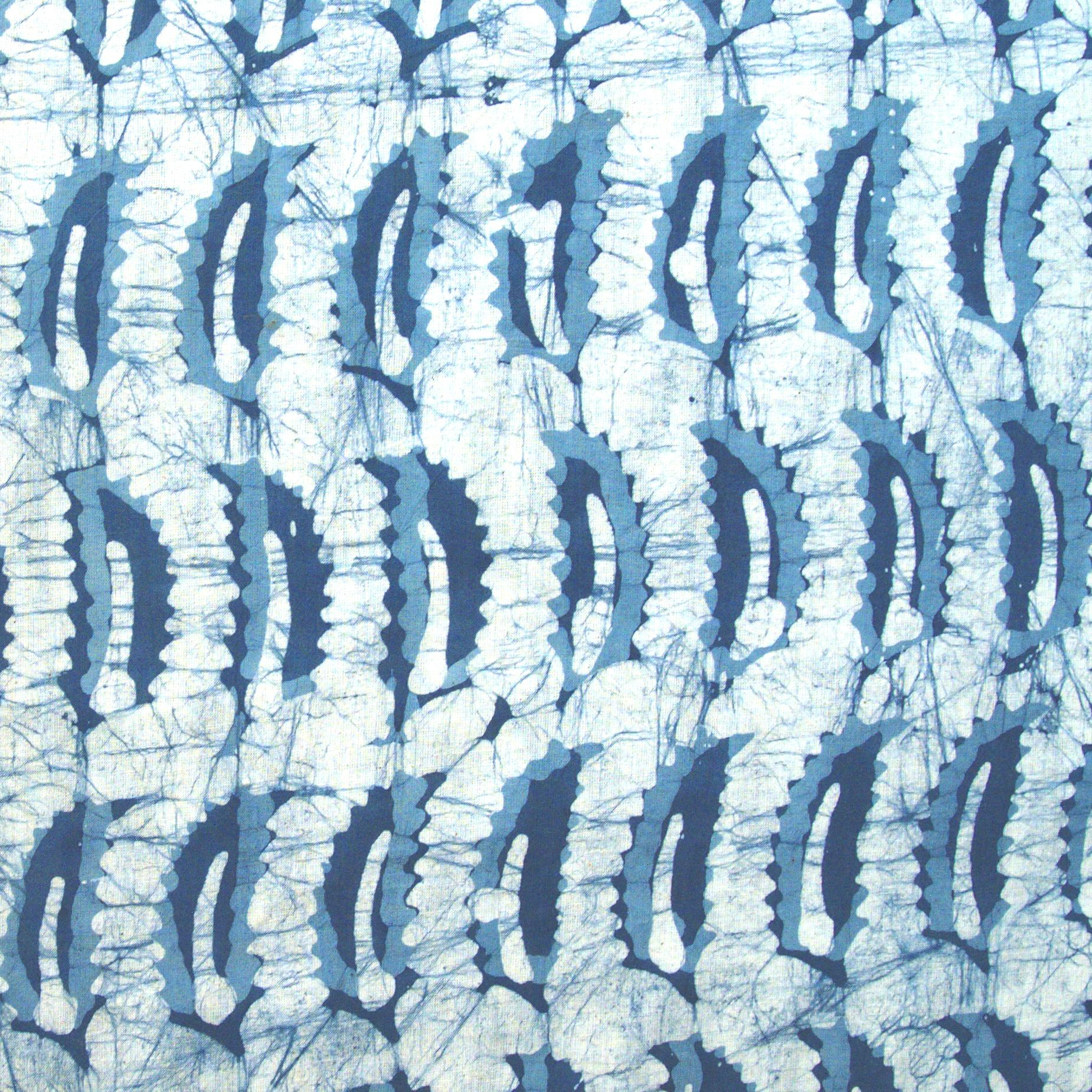 2 - SHA12 - 100% Block-Printed Batik Cotton Fabric From India - Batik - Blue Banana Leaves - Flat