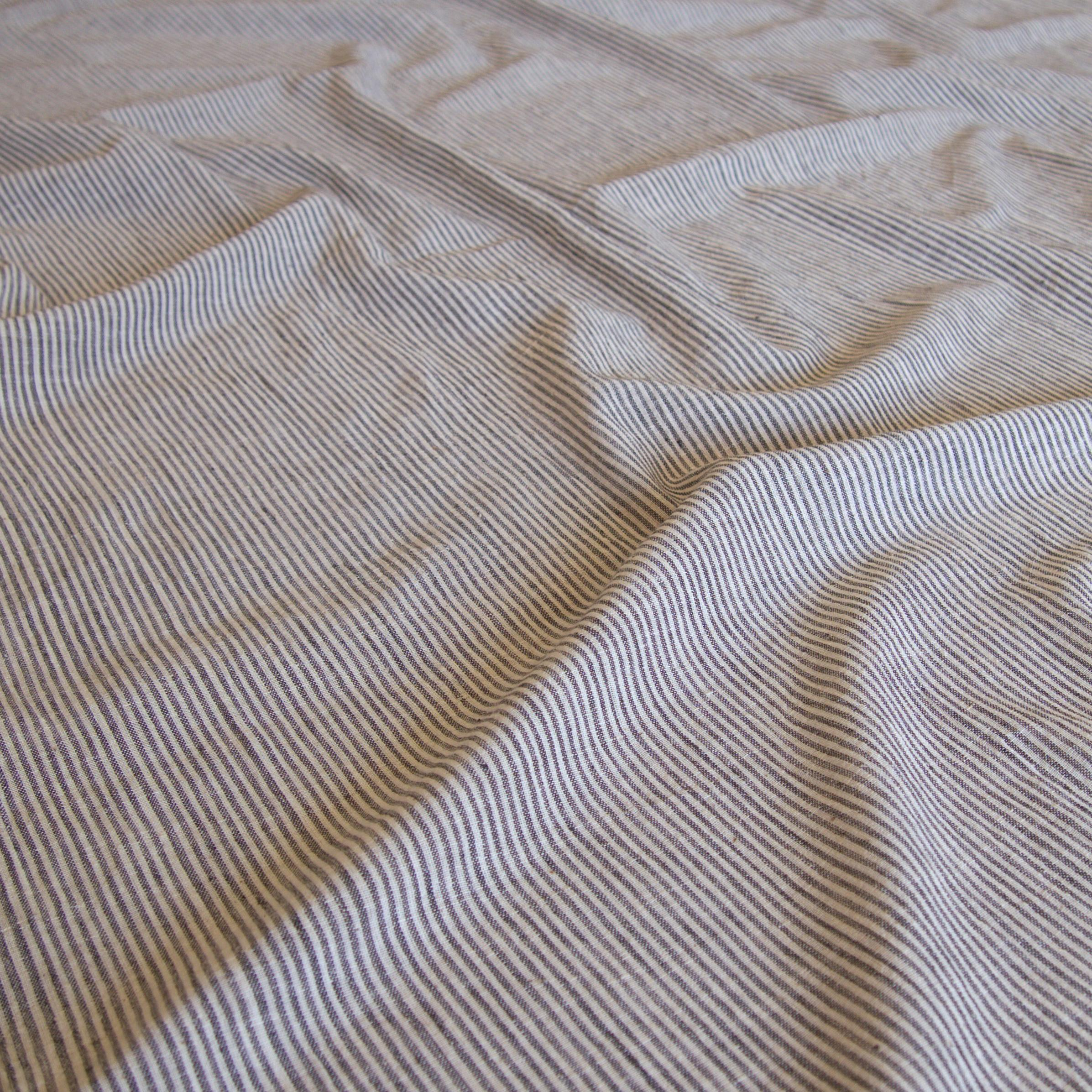 Organic Kala Cotton - Handloom Woven - Natural Dye - Charcoal Black - Stripes - One By One - Contrast