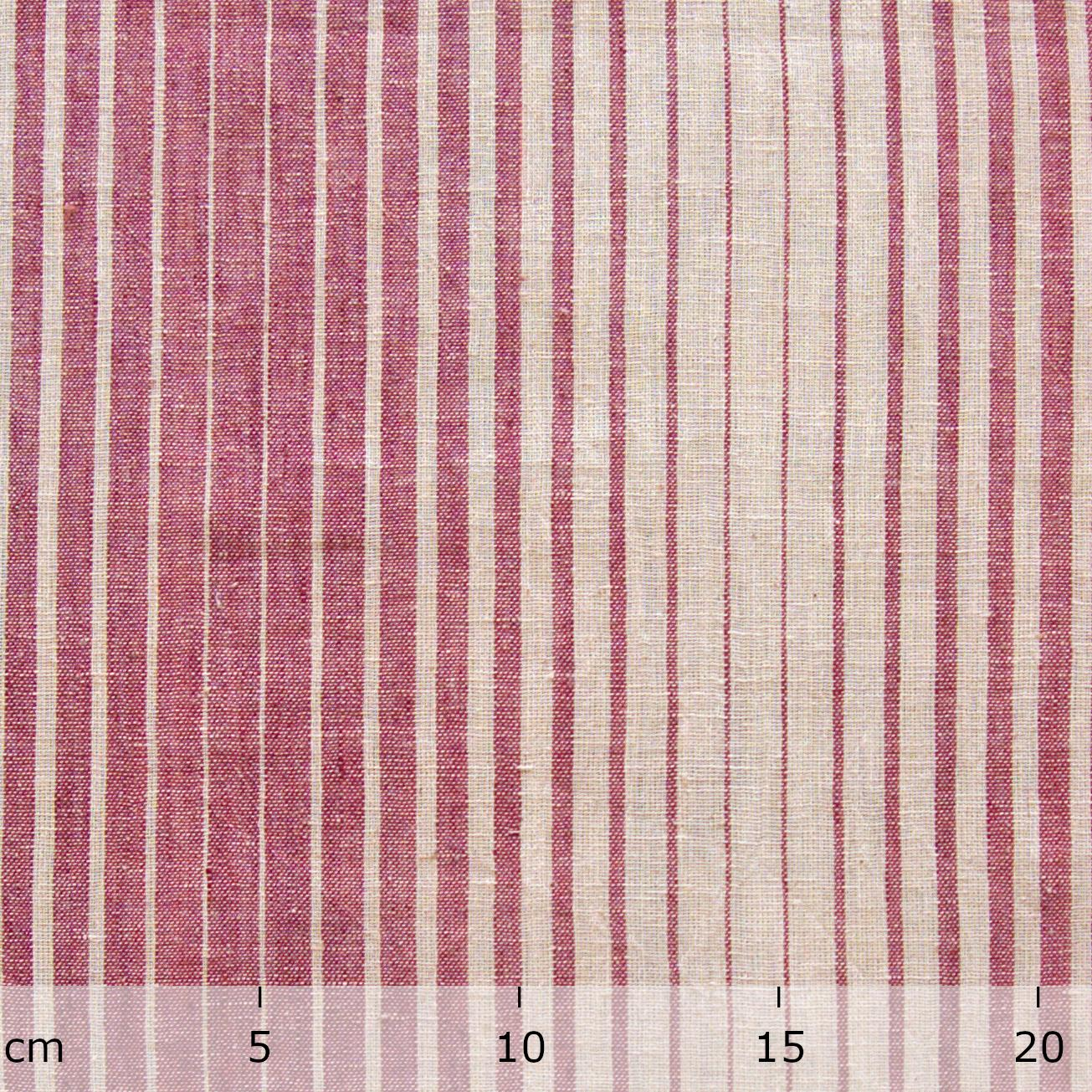 Organic Kala Cotton - Handloom Woven - Natural Dye - Red Aal Root - Fading Stripes - One By One - Ruler