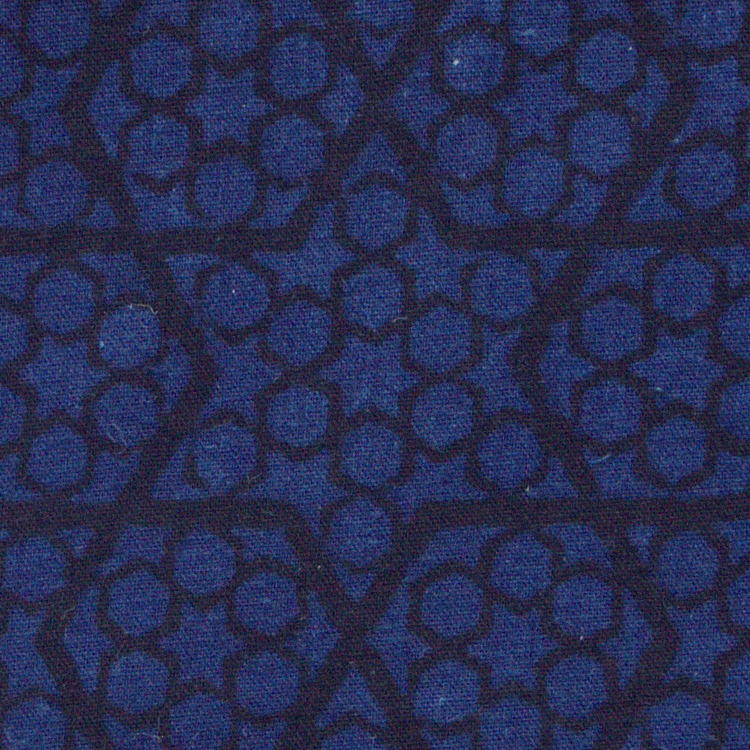 100% Block-Printed Cotton Fabric from India - Ajrak - Indigo Black Honey Comb Print - Close Up