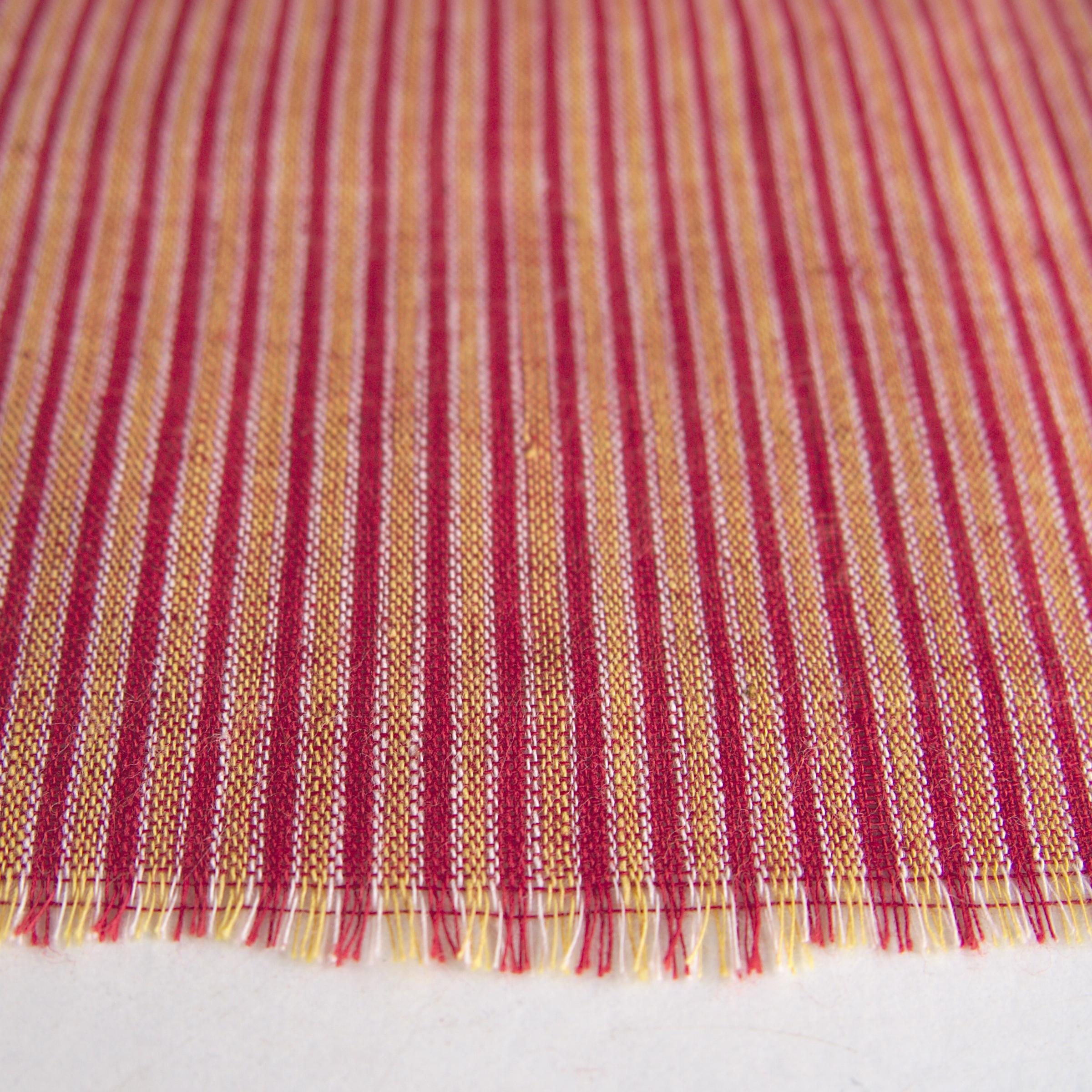 100% Handloom Woven Cotton - Double Stripes - Alizarin Red Warp & Weft, White and Pomegranate Yellow Warp - Close Up