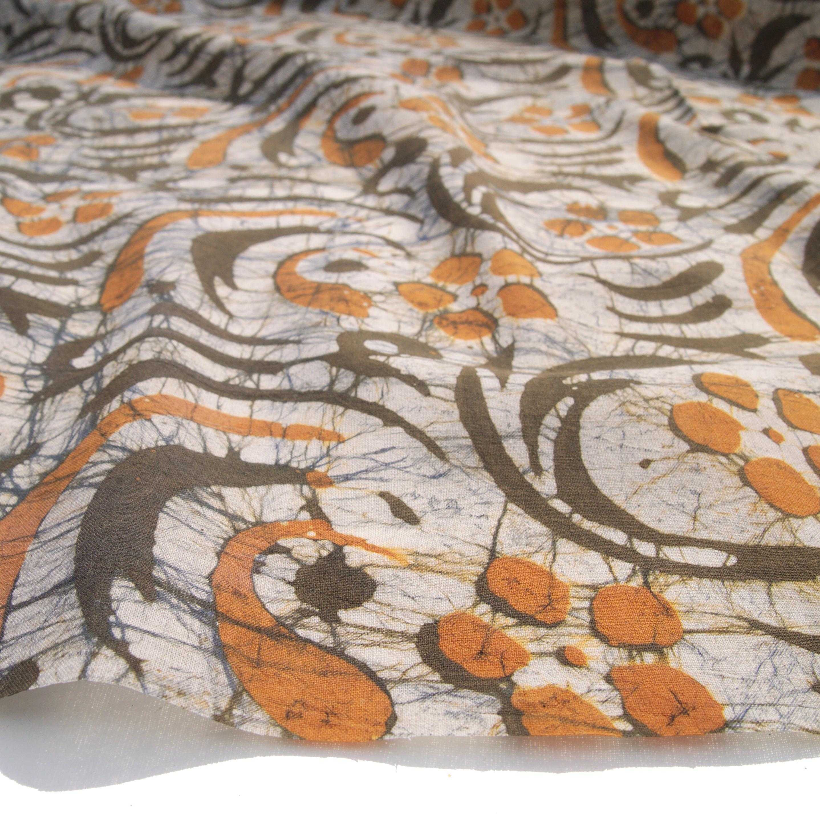 2 - SHA18 - 100% Block-Printed Batik Cotton Fabric From India - Stirred Not Shaken Motif - Angle - Live