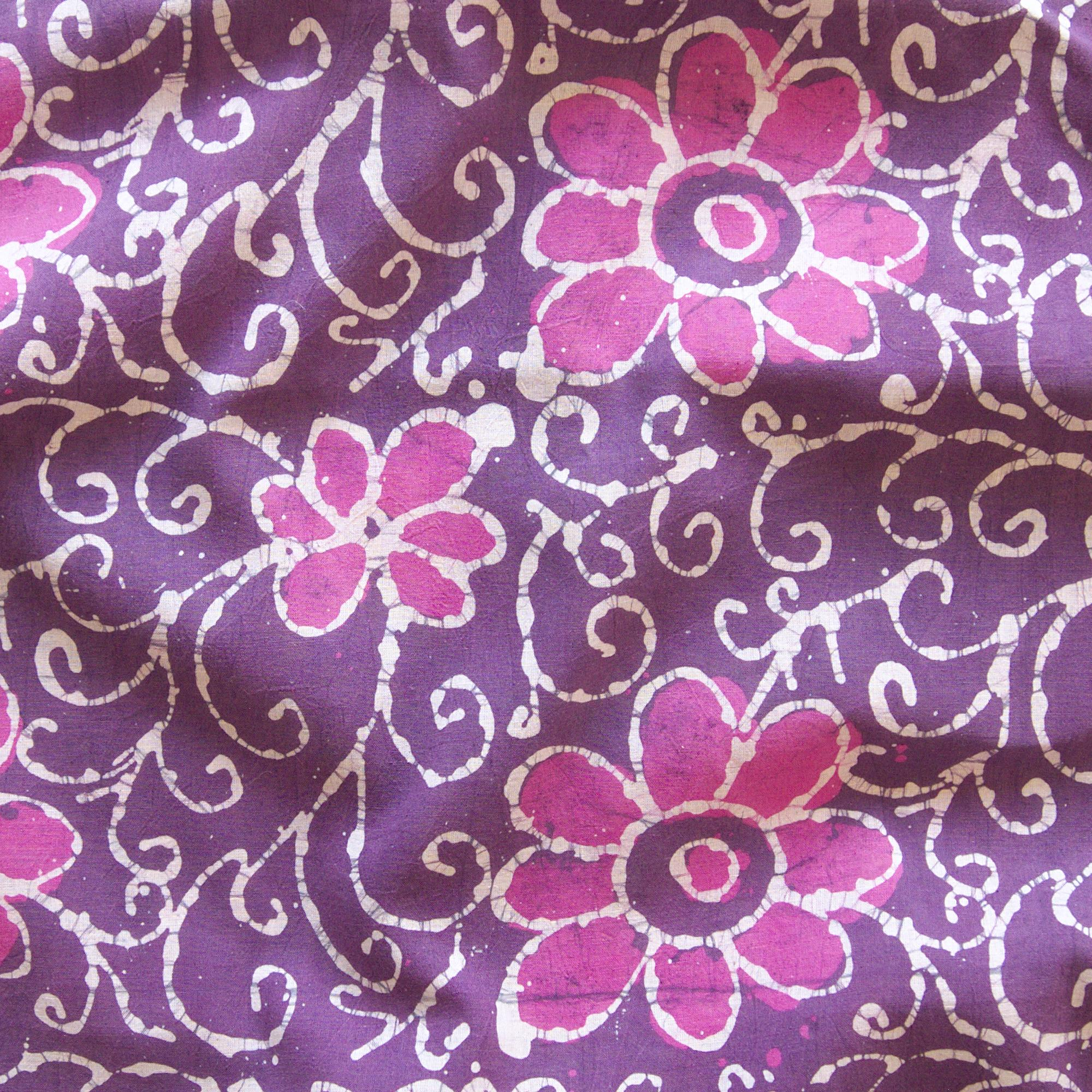 1 - SHA21 - 100% Block-Printed Batik Cotton Fabric From India - Flower Power Motif - Contrast - Live