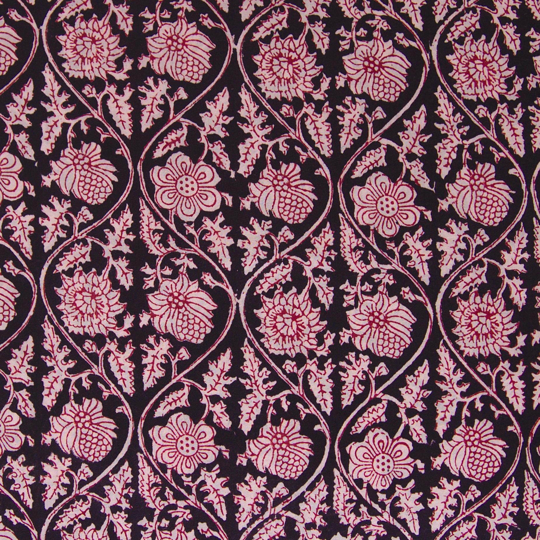 100% Block-Printed Cotton Fabric From India - Vinea Design - Iron Rust Black & Alizarin Red Dyes - Flat - Live