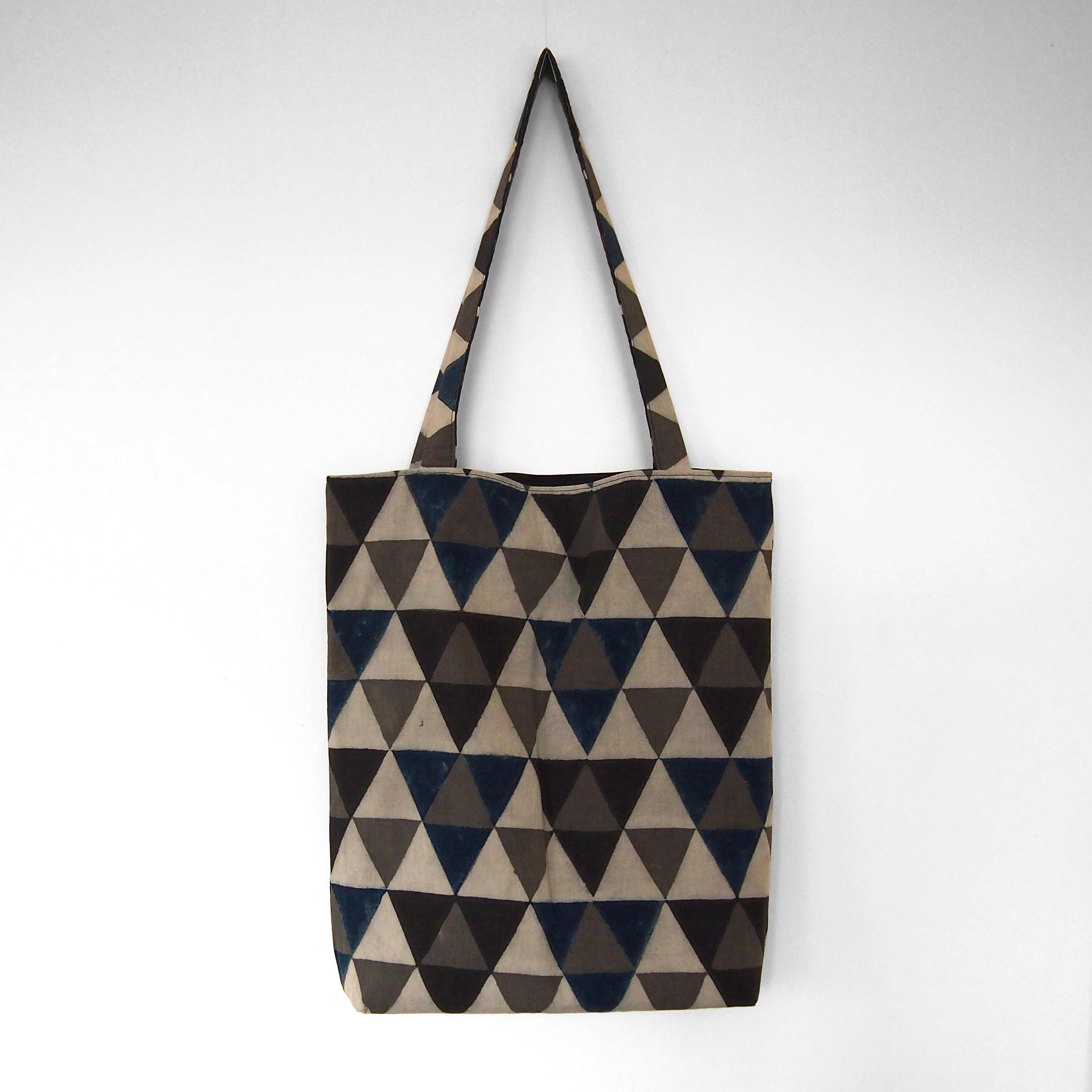 block printed cotton tote bag, natural dye, beige, blue black grey triangle design, lined with black cotton, closed