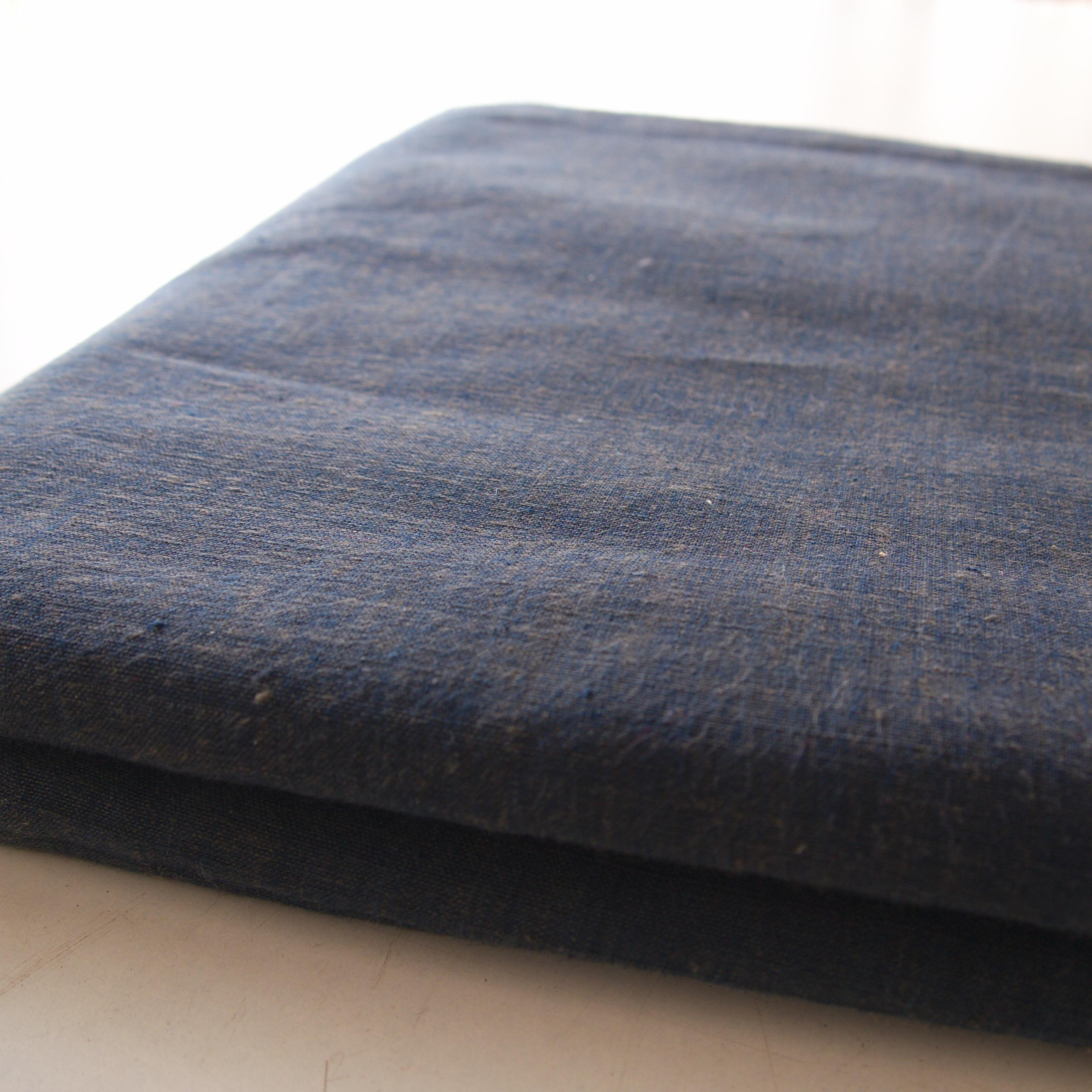 100% Handloom Woven Cotton - Natural Indigo Warp, Olive Green Weft - Cross Colour - Bolt