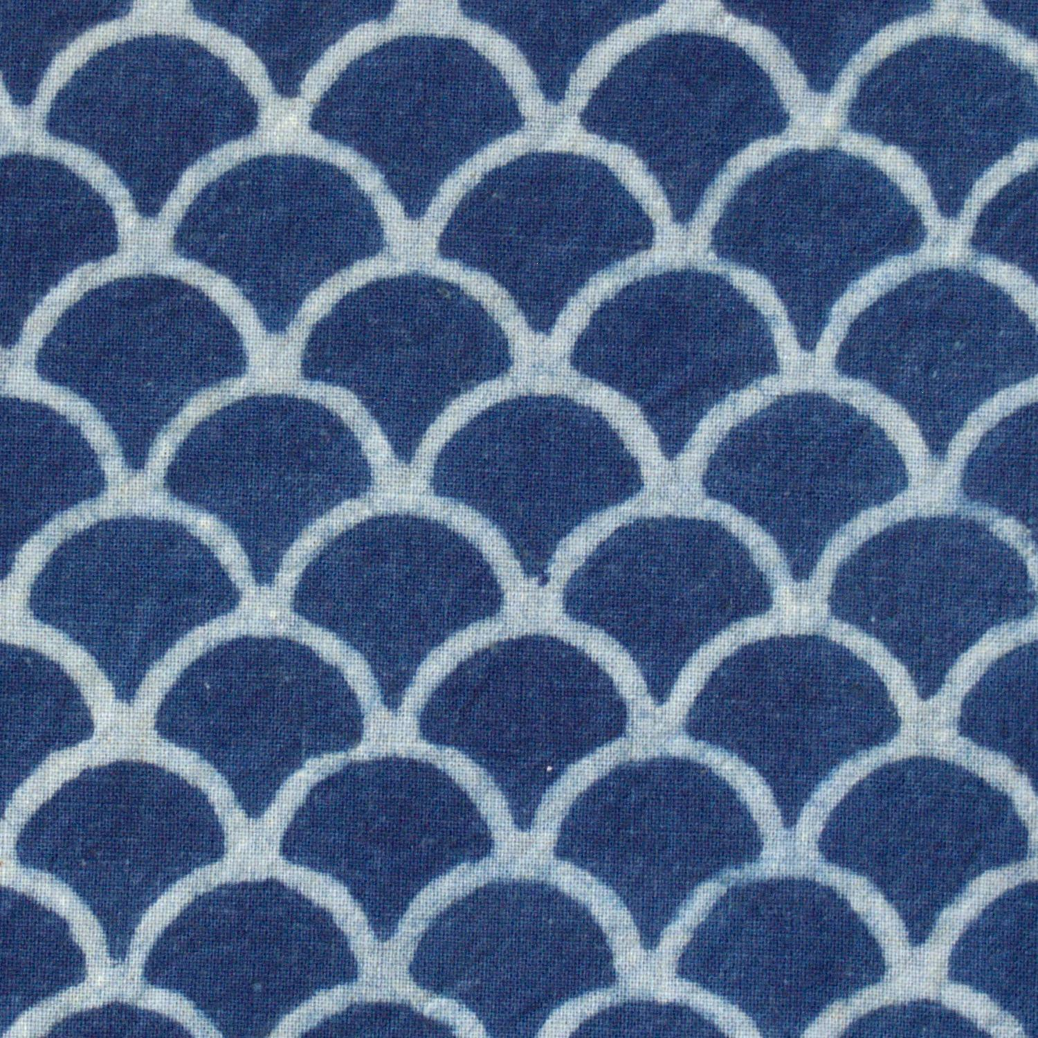 100% Block-Printed Cotton Fabric From India- Ajrak - Indigo White Resist Scales Print - Close Up