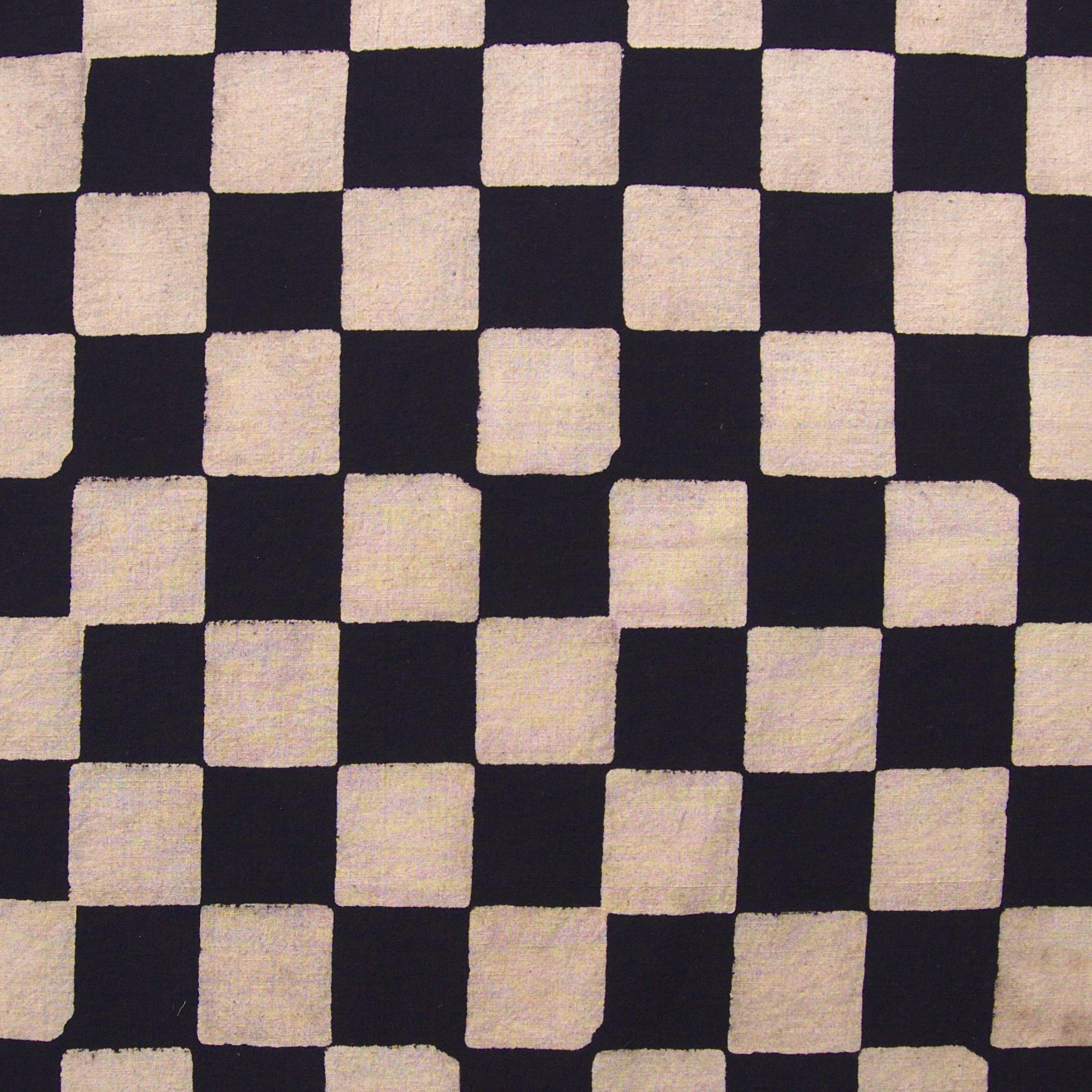 100% Block-Printed Cotton Fabric From India- Ajrak - Black White Resist Chequers Print - Contrast - Live