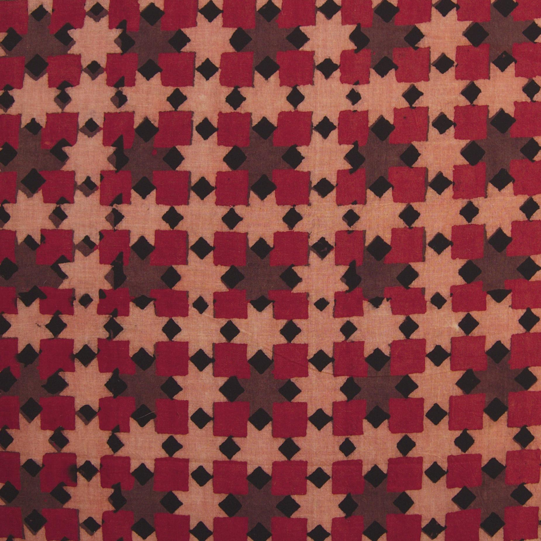 Block Printed Fabric, 100% Cotton, Ajrak Design: Pink Base, Black, Madder Root Red, Purple Square. Close Up