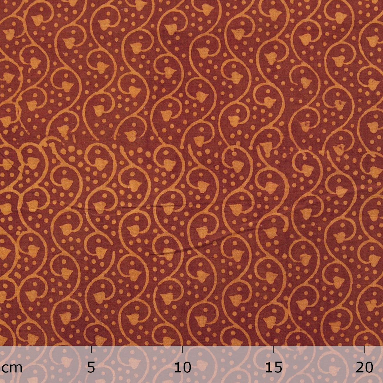 Block Printed Fabric, 100% Cotton, Ajrak Design: Orange Base, Ochre Vine. Ruler