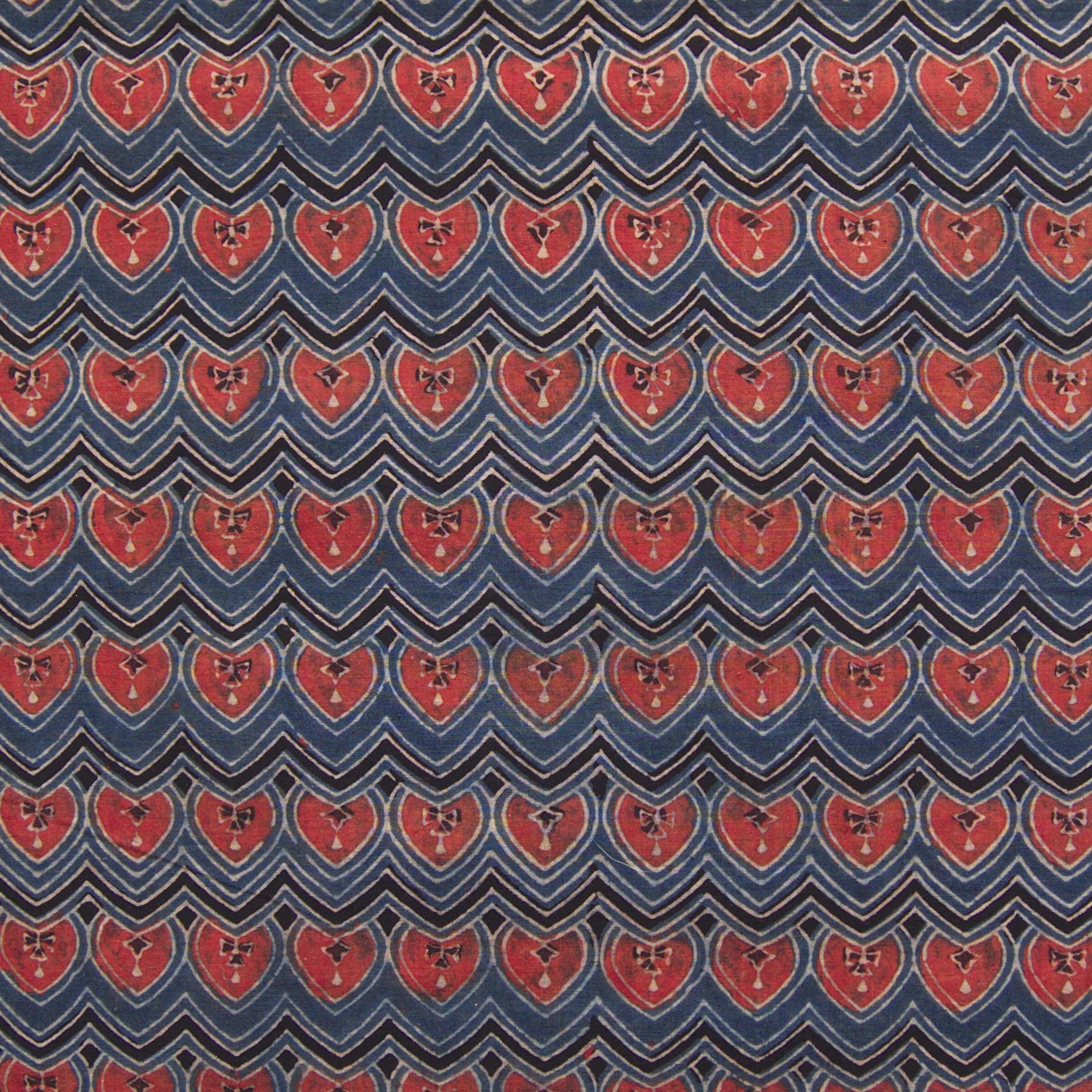 Block Printed Fabric, 100% Cotton, Ajrak Design: Indigo Blue Base, Black Wave, Red Spade. Close Up