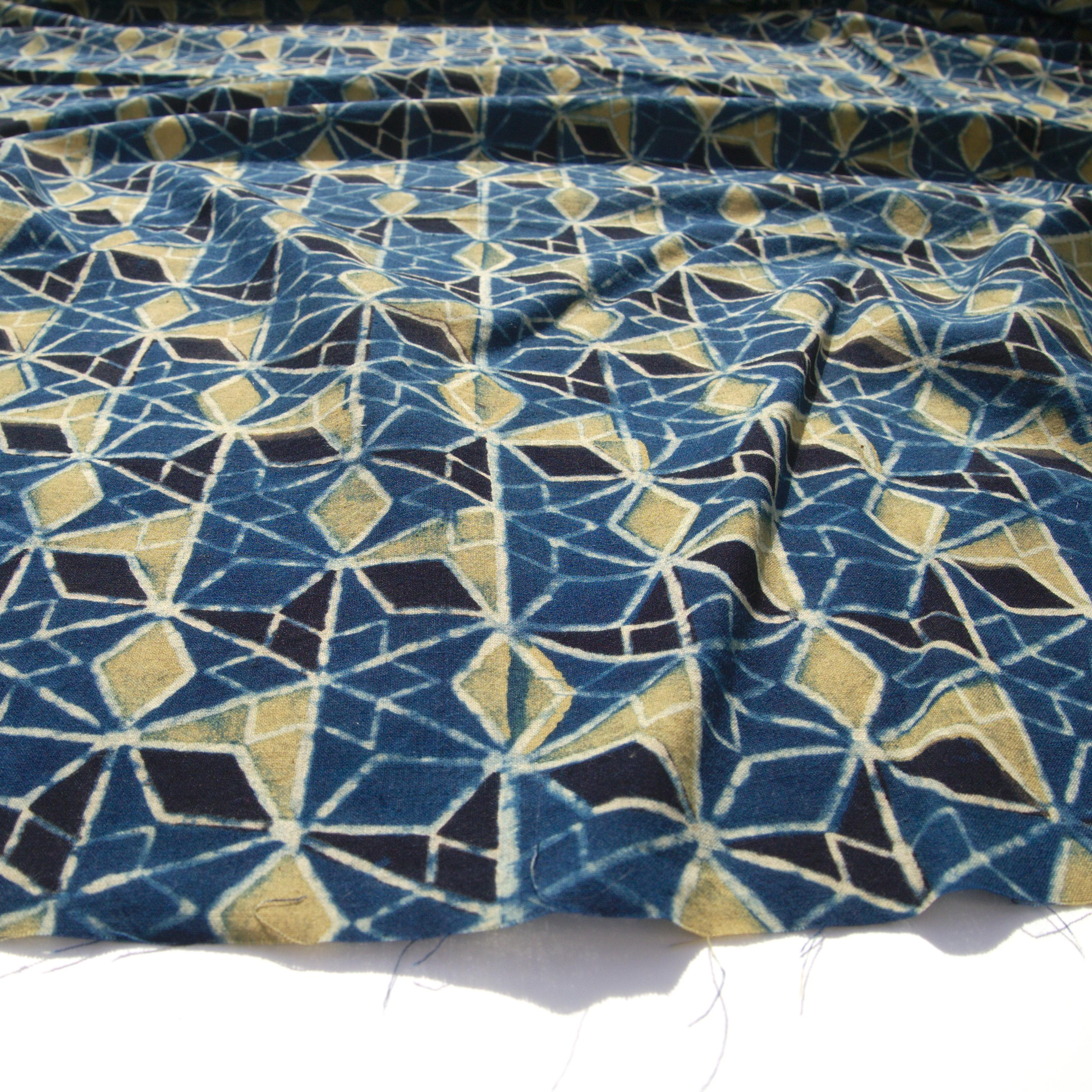 Block Printed Fabric, 100% Cotton, Ajrak Design: Blue Base, Black, Lime Wing. Angle