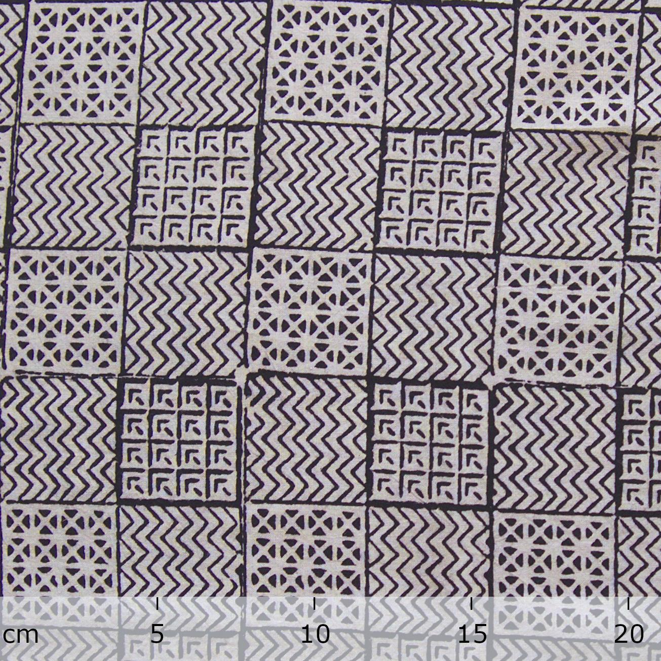 100% Block-Printed Cotton Fabric From India- Bagh - Iron Rust Black Combo Print - Ruler