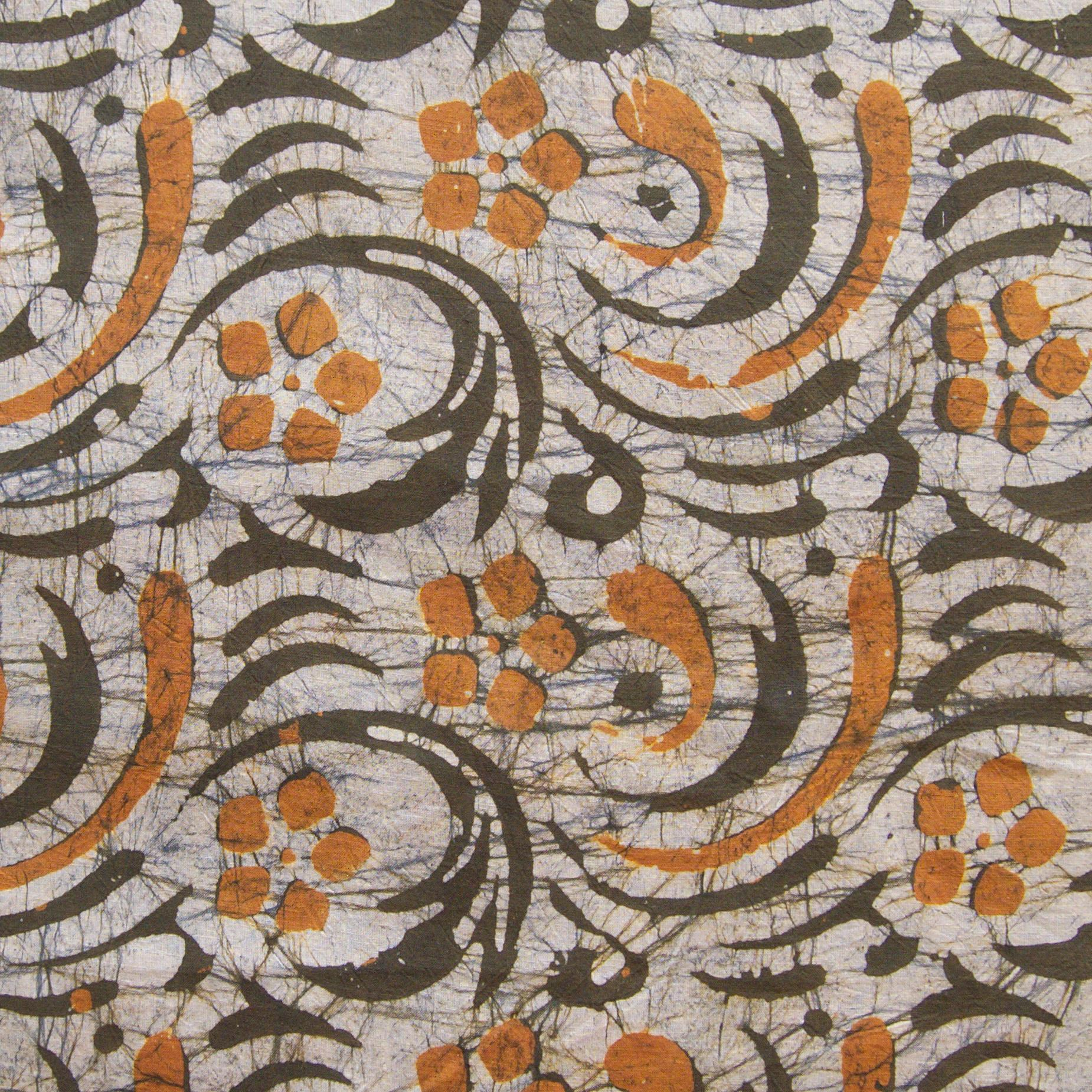 3 - SHA18 - 100% Block-Printed Batik Cotton Fabric From India - Stirred Not Shaken Motif - Flat - Live