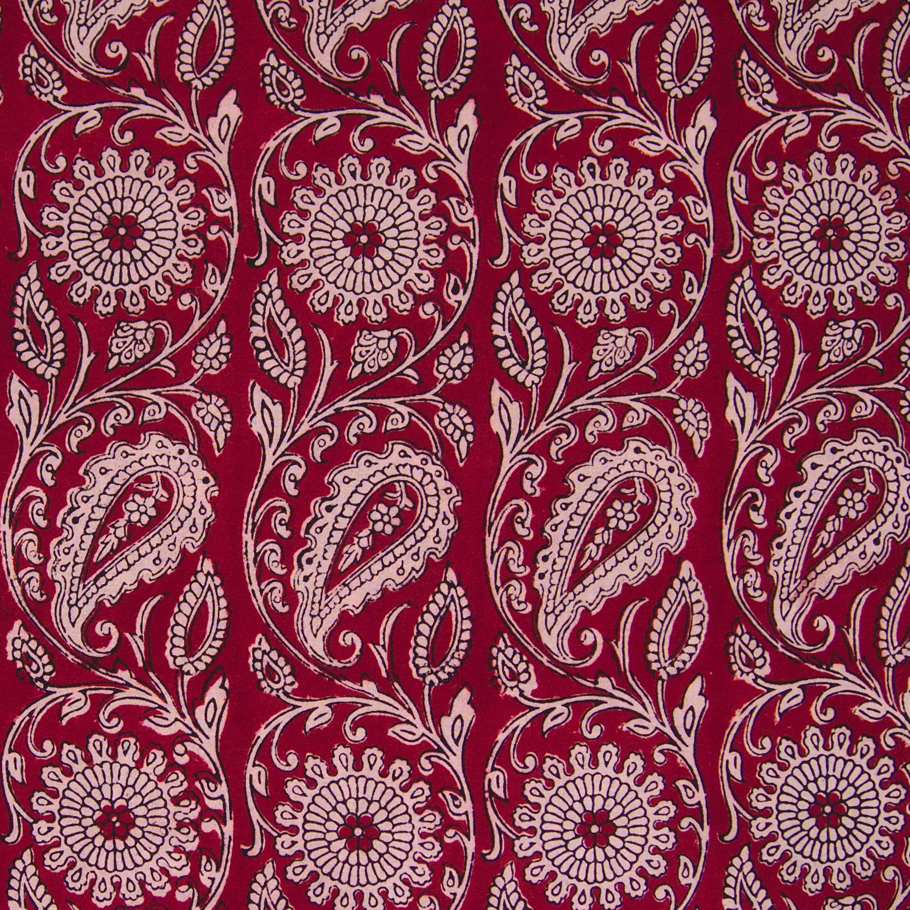 100% Block-Printed Cotton Fabric From India - Sichuan Pepper Design - Iron Rust Black & Alizarin Red Dyes - Flat - Live
