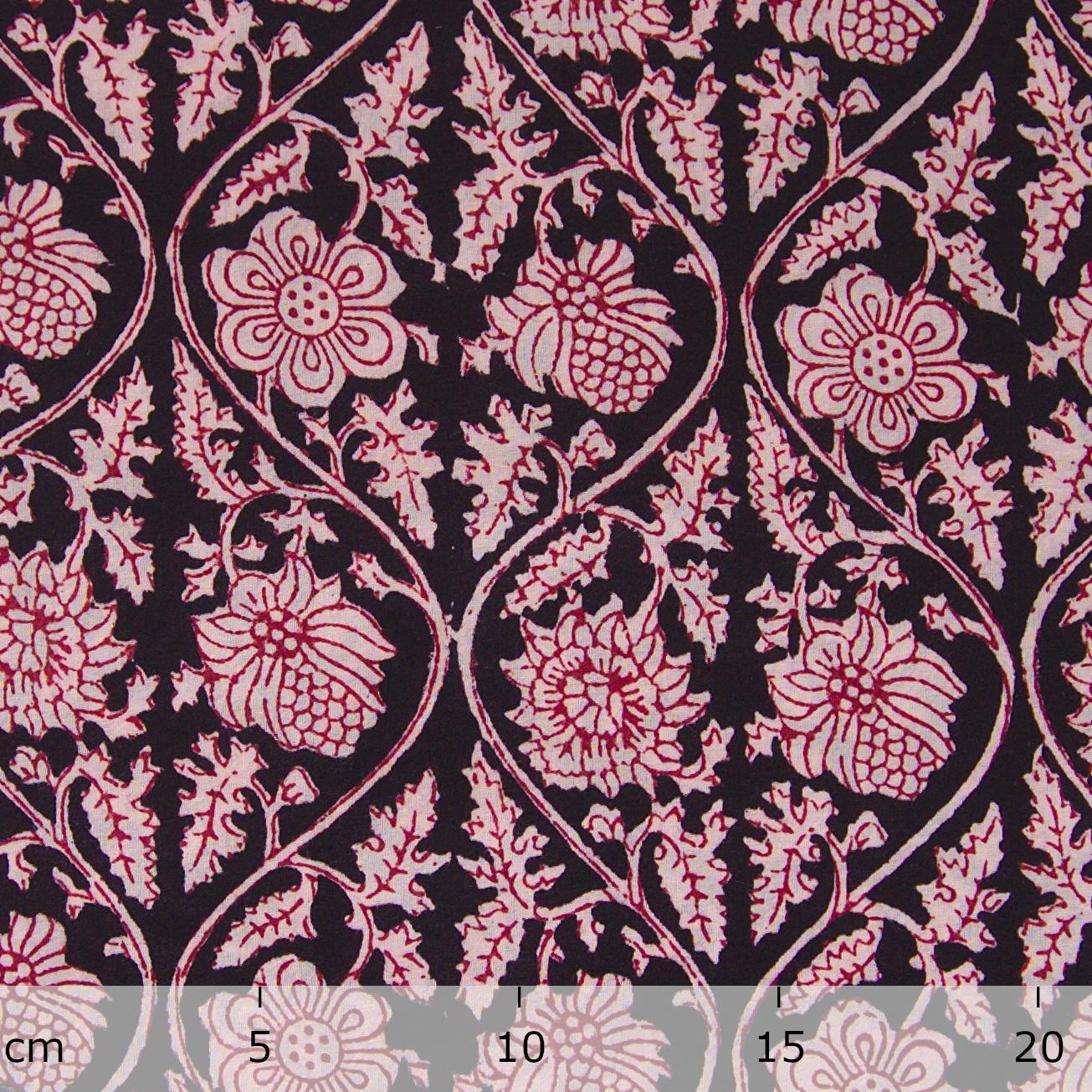 100% Block-Printed Cotton Fabric From India - Vinea Design - Iron Rust Black & Alizarin Red Dyes - Ruler - Live