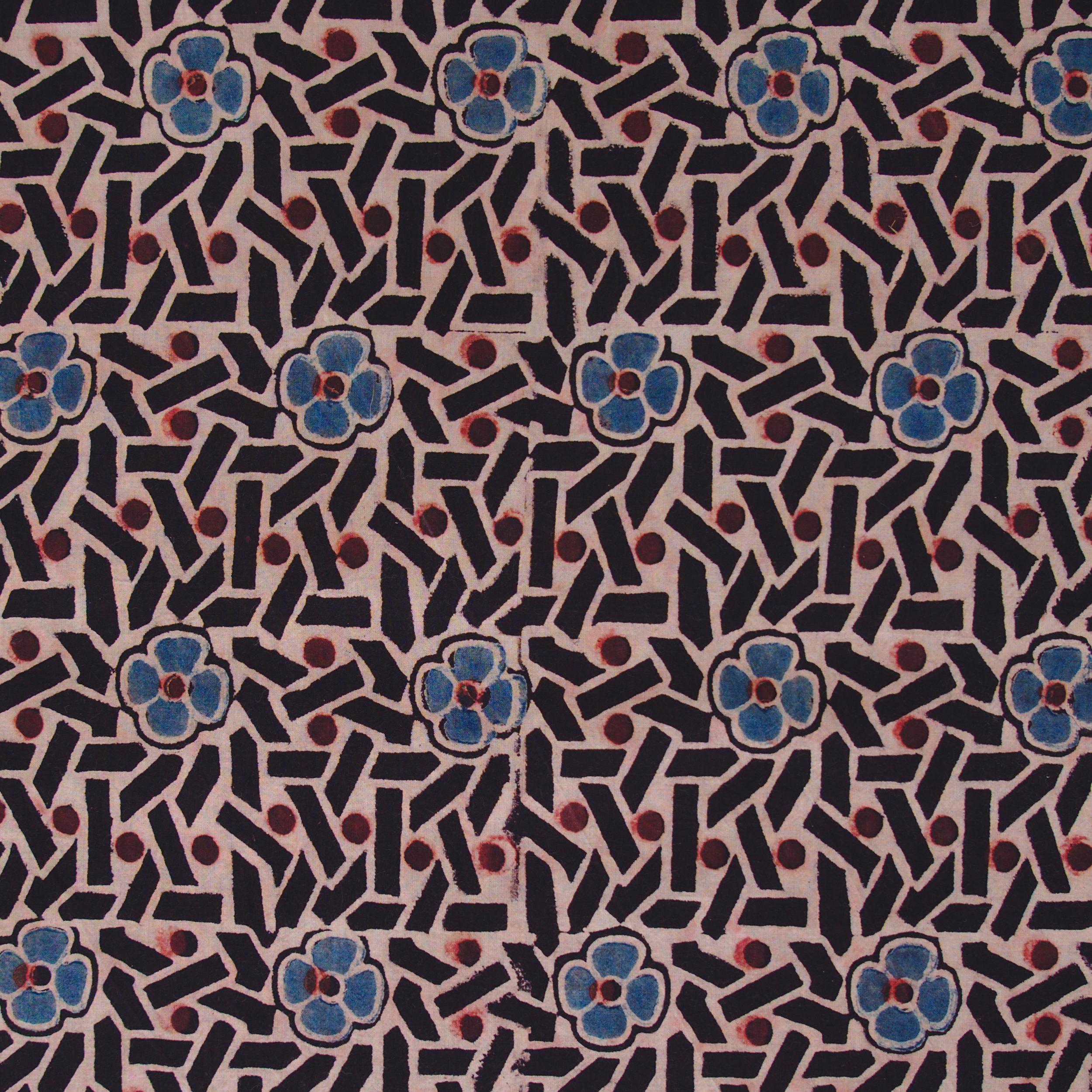 SIK35 - Indian Block-Printed Cotton - Sticks & Stones Design - Indigo, Red & Black Dye - Flat