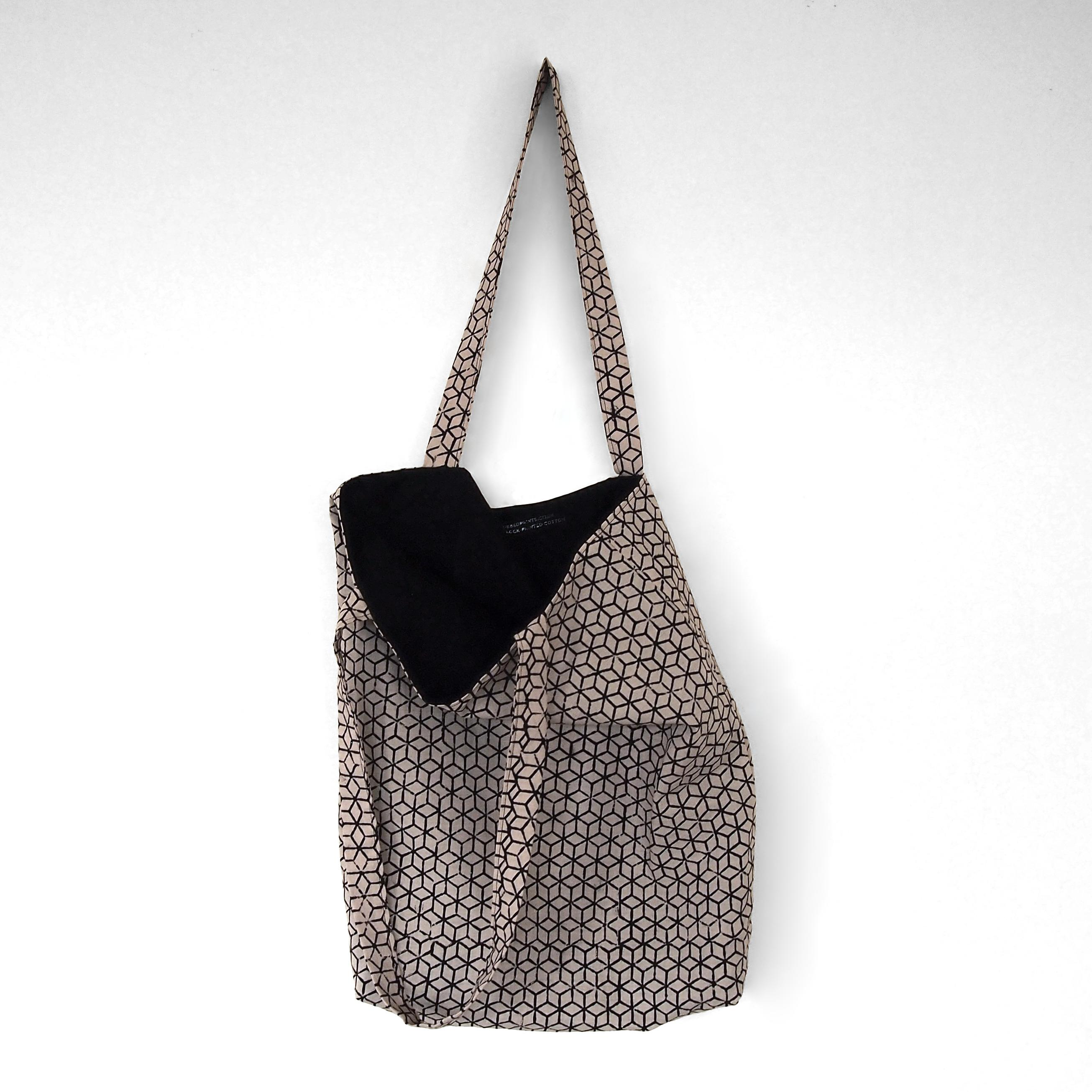 block printed cotton tote bag, natural dye, beige, black tumbling block, lined with black cotton, open