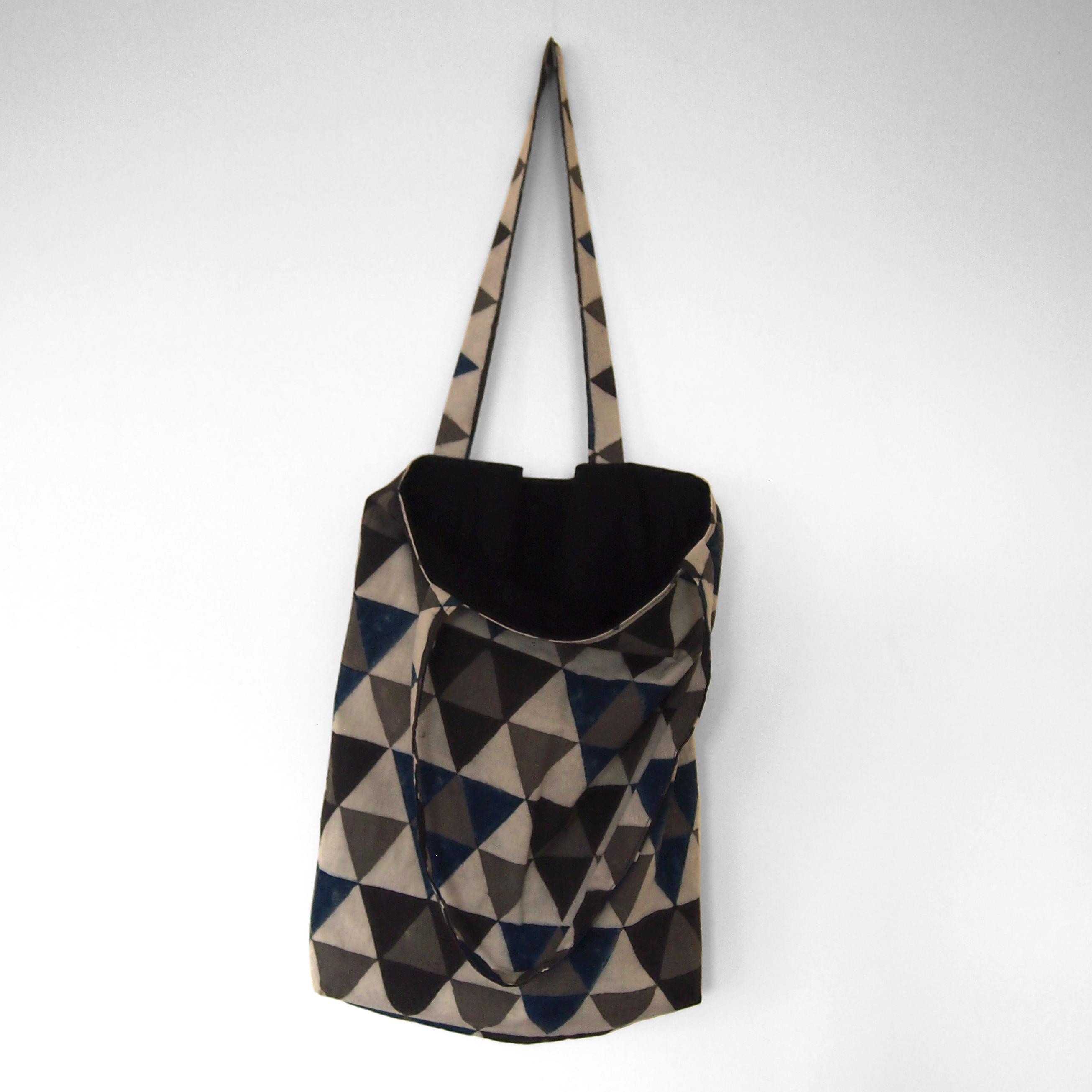 block printed cotton tote bag, natural dye, beige, blue black grey triangle design, lined with black cotton, open