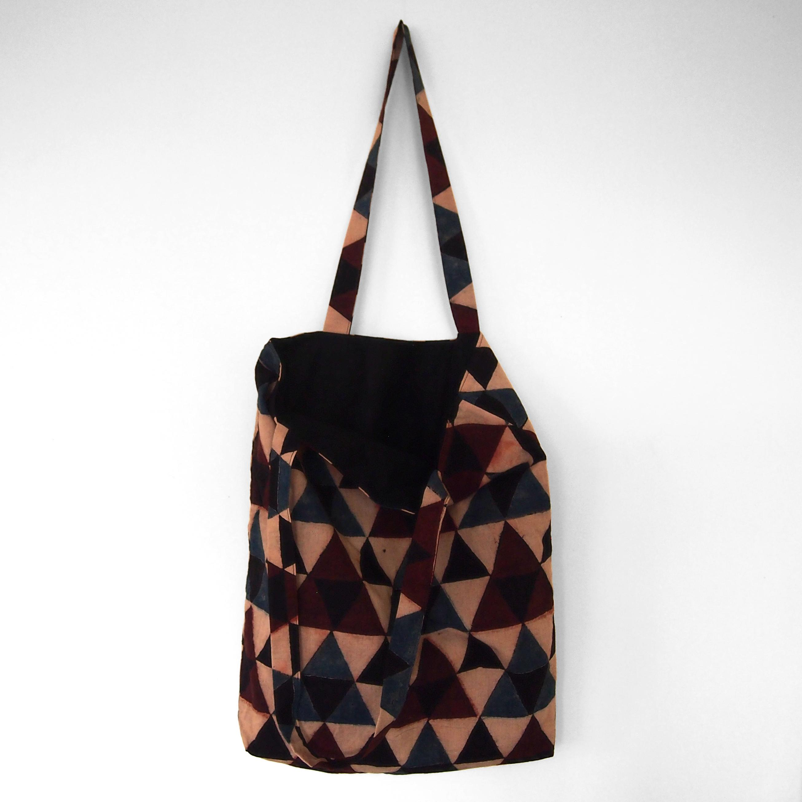 block printed tote bag, cream, black blue red triangle design, lined with black cotton, open