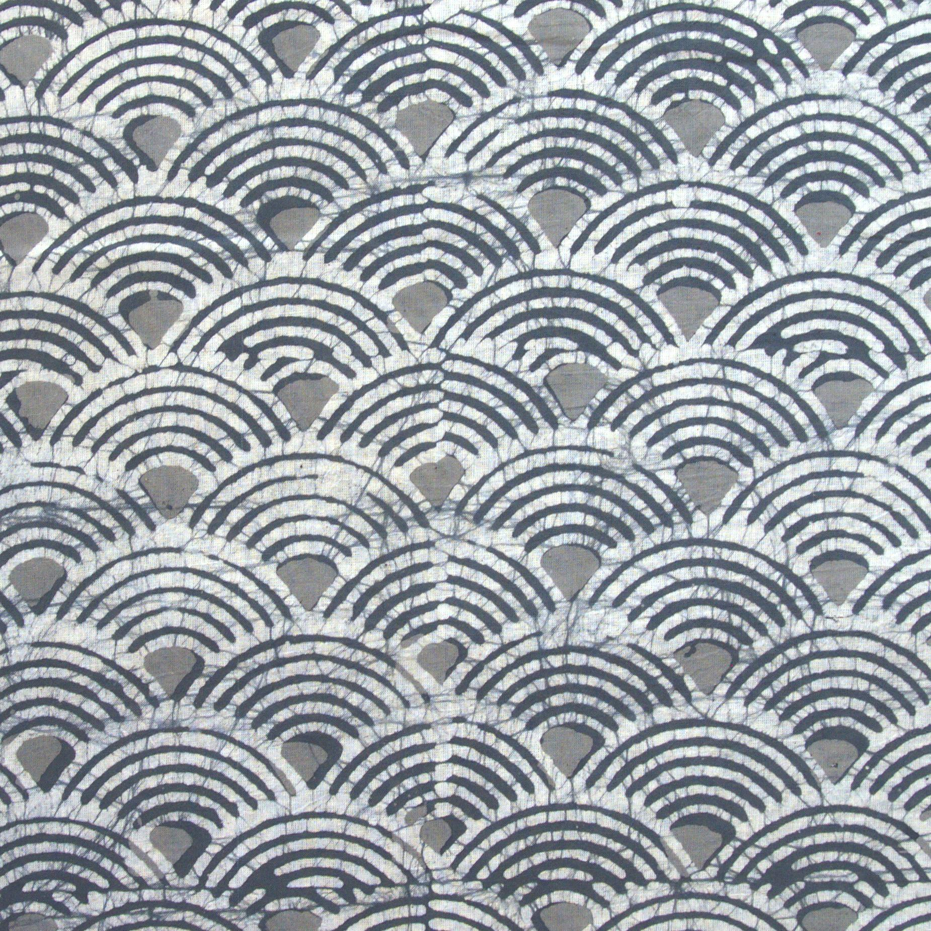 2 - SHA03 - 100% Block-Printed Batik Cotton Fabric From India - Batik - Grey Scales
