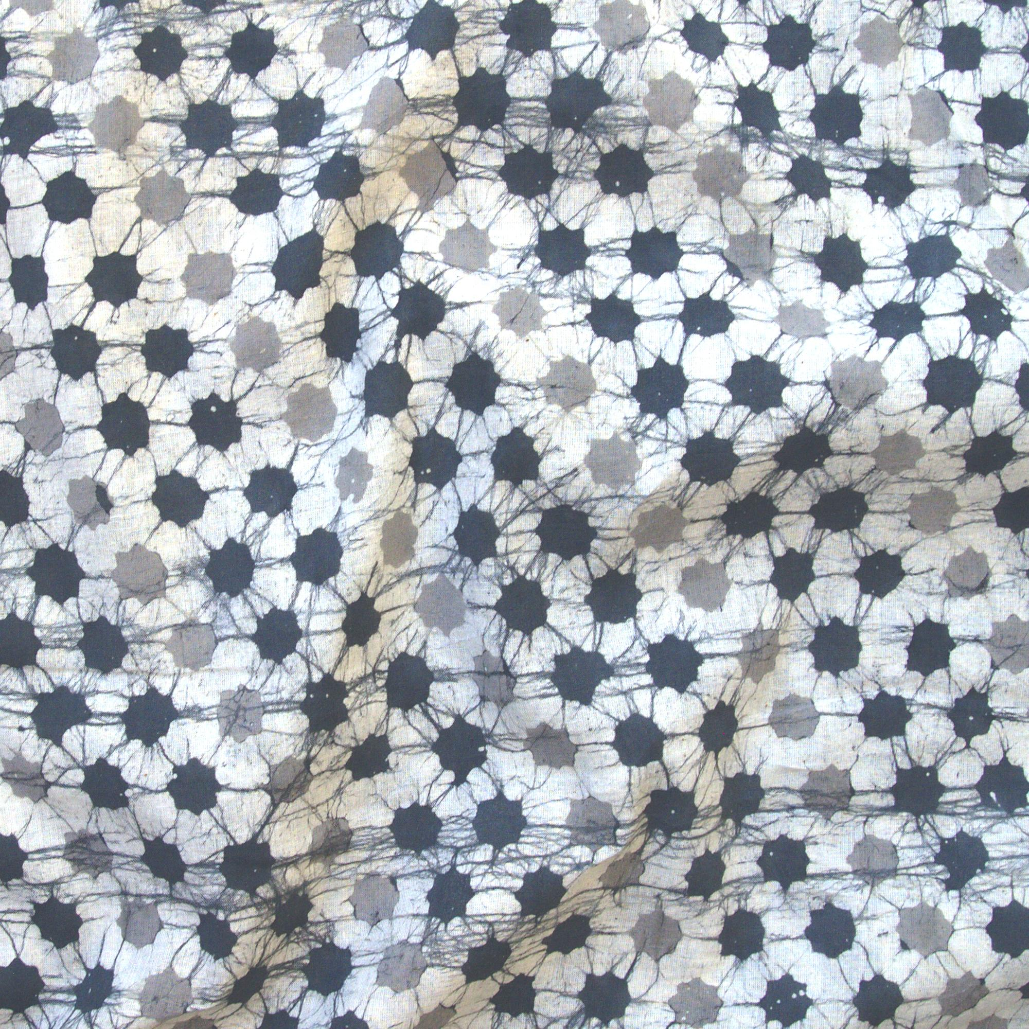 1 - SHA05 - 100% Block-Printed Batik Cotton Fabric From India - Batik - Grey Stars - Contrast