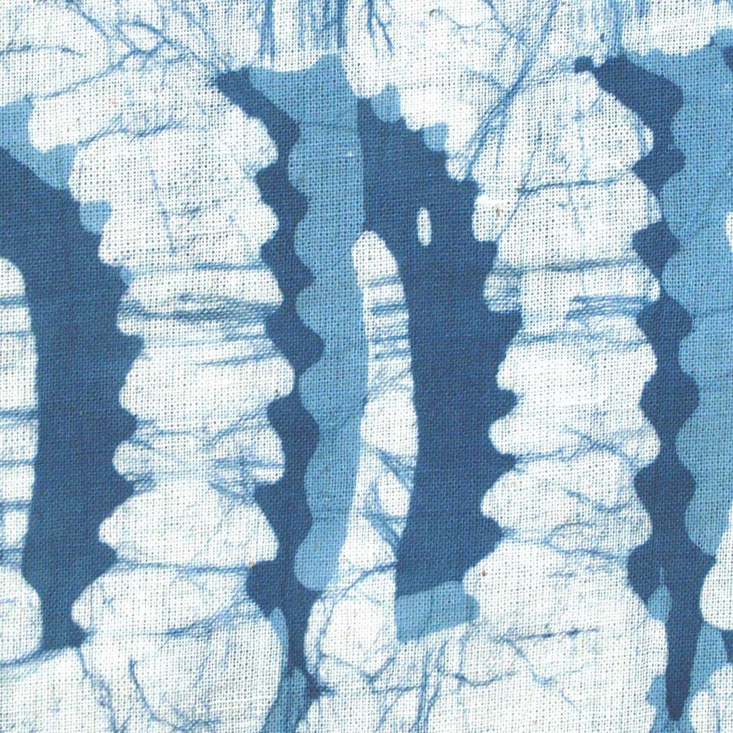 2 - SHA12 - 100% Block-Printed Batik Cotton Fabric From India - Batik - Blue Banana Leaves - Close Up