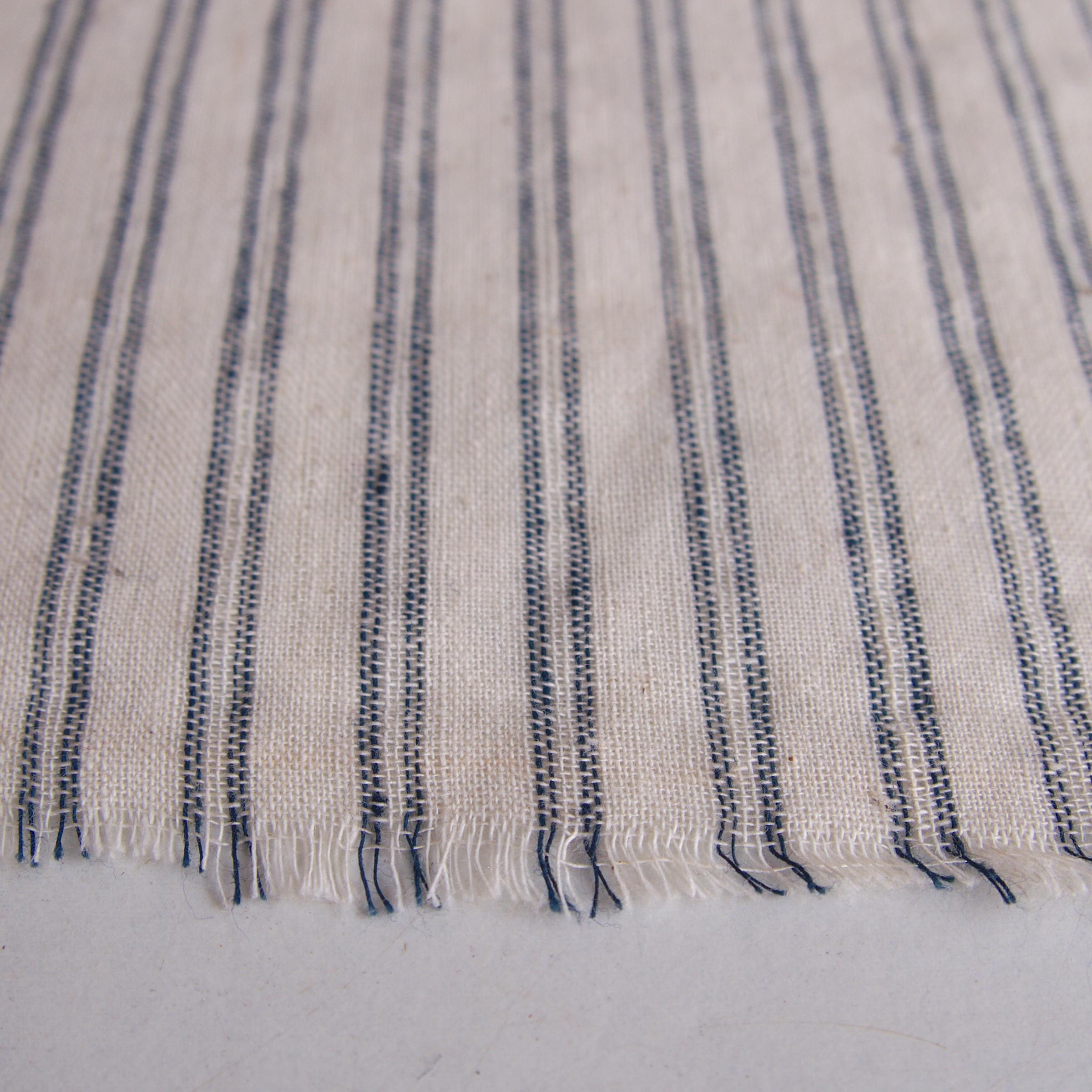 100% Handloom Woven Cotton - Pinstripes - White Warp & Weft, White and Natural Indigo Warp - Close Up