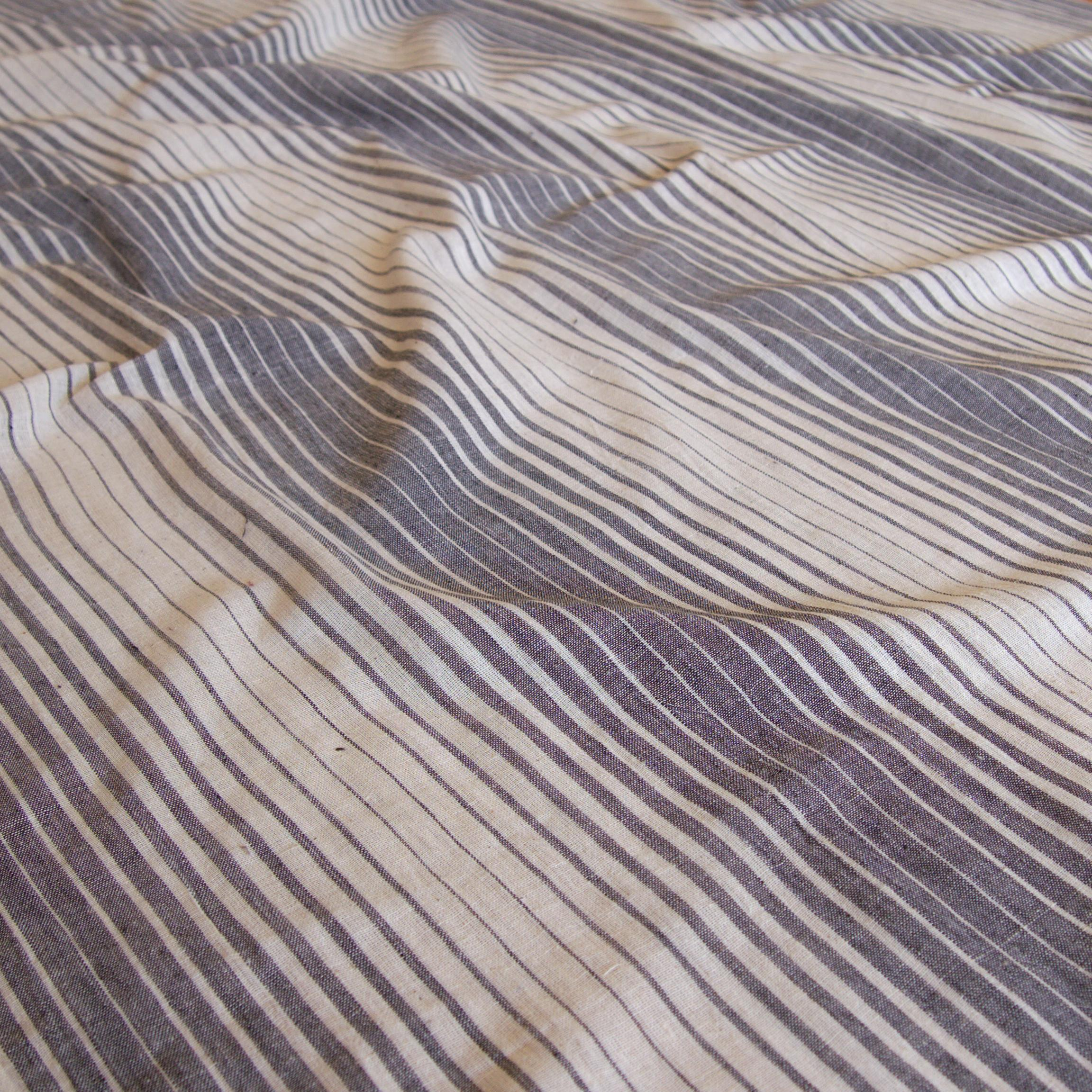 Organic Kala Cotton - Handloom Woven - Natural Dye - Charcoal Black - Fading Stripes - One By One - Contrast