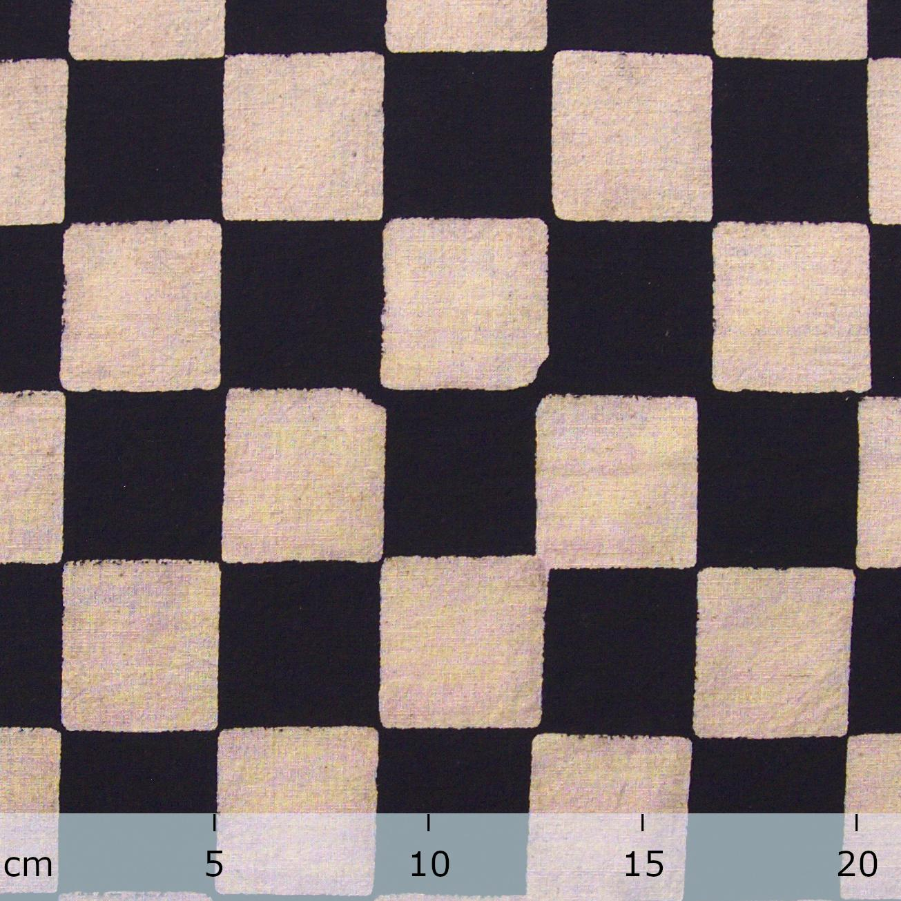 100% Block-Printed Cotton Fabric From India- Ajrak - Black White Resist Chequers Print - Ruler
