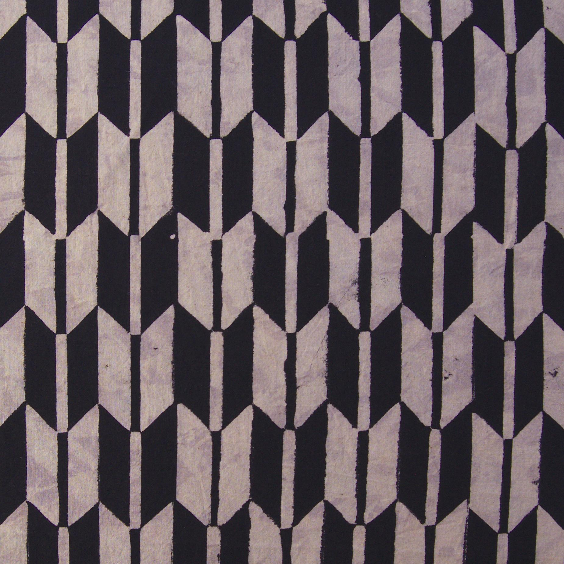 100% Block-Printed Cotton Fabric From India- Ajrak - Black White Resist Fletching Print - Flat
