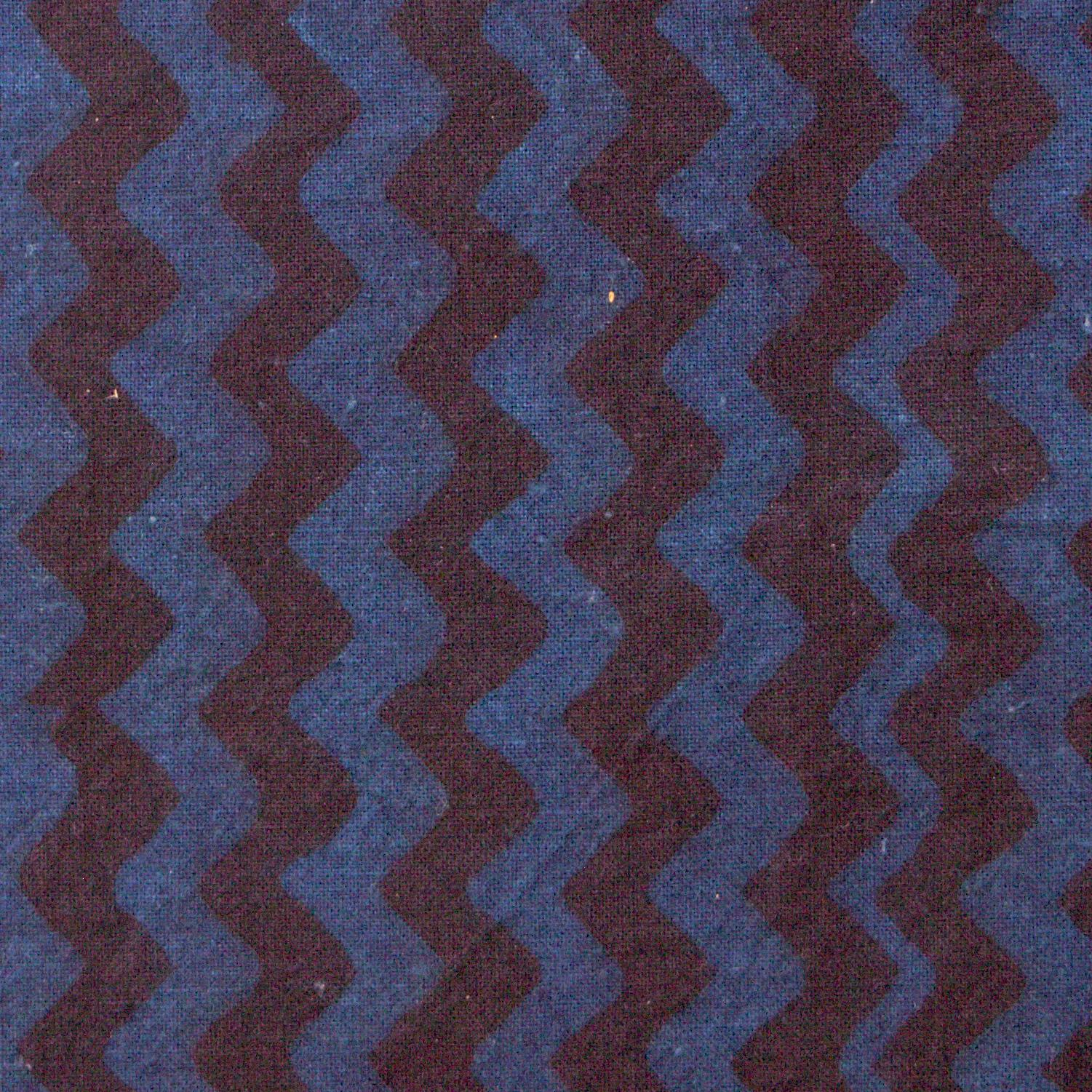 100% Block-Printed Cotton Fabric From India- Ajrak - Indigo Black Zig Zag Print - Close Up