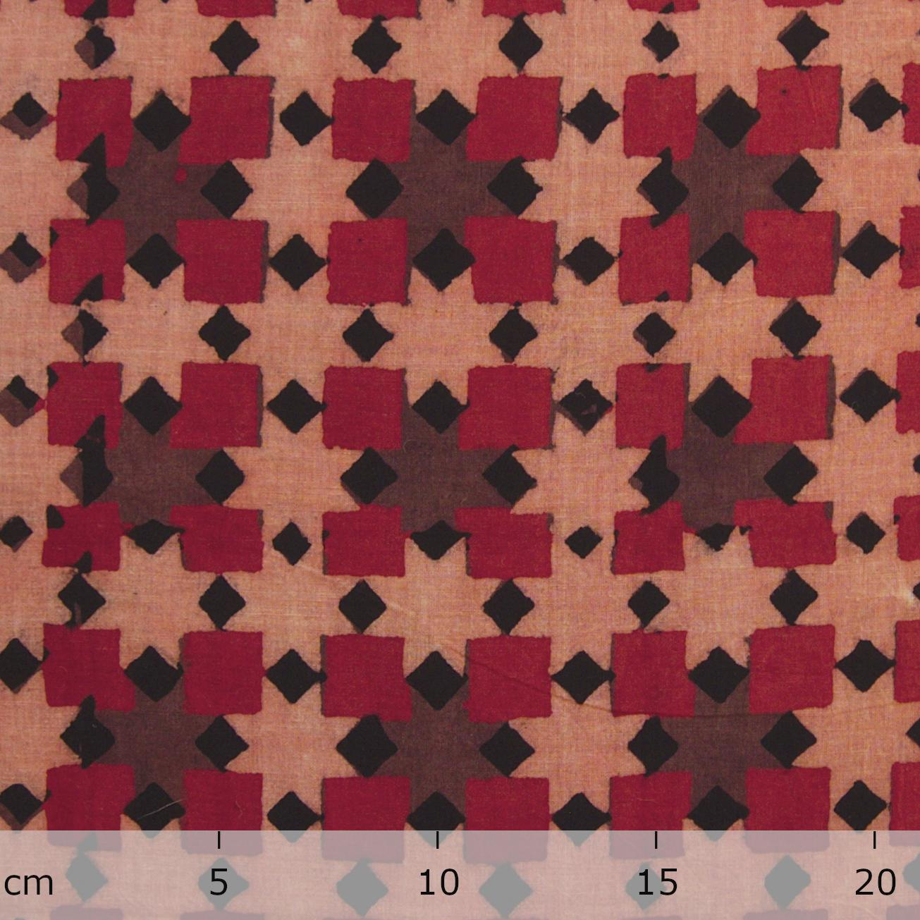 Block Printed Fabric, 100% Cotton, Ajrak Design: Pink Base, Black, Madder Root Red, Purple Square. Ruler
