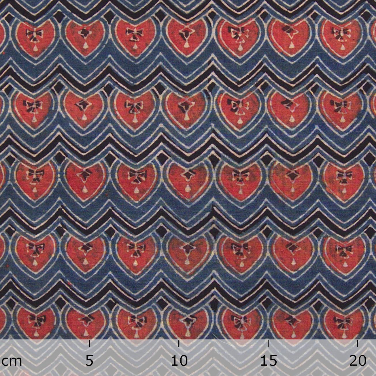 Block Printed Fabric, 100% Cotton, Ajrak Design: Indigo Blue Base, Black Wave, Red Spade. Ruler