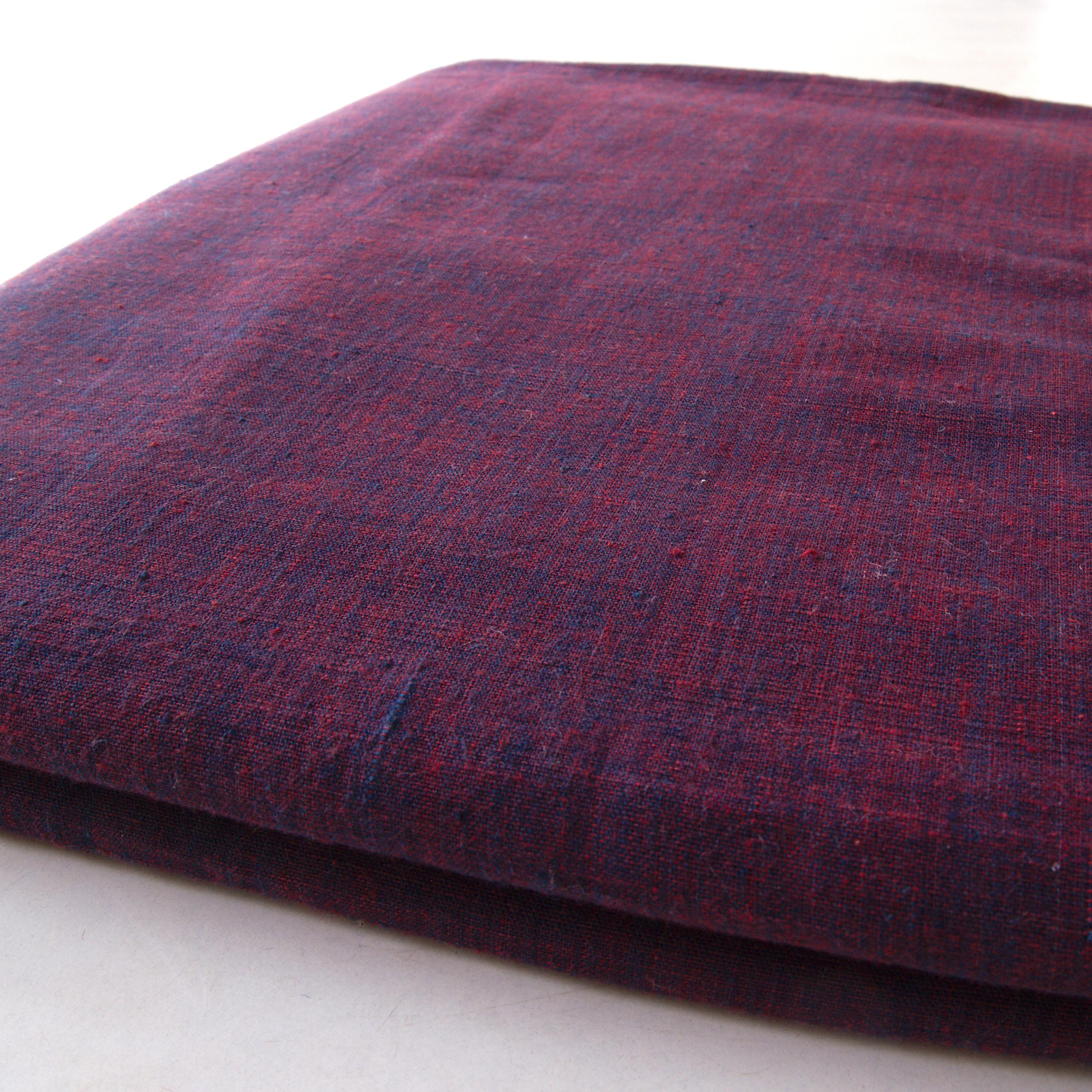 100 % Handloom Woven Cotton - Cross Colour - Natural Indigo Warp, Red Alizarin Weft - Cross Colour - Bolt