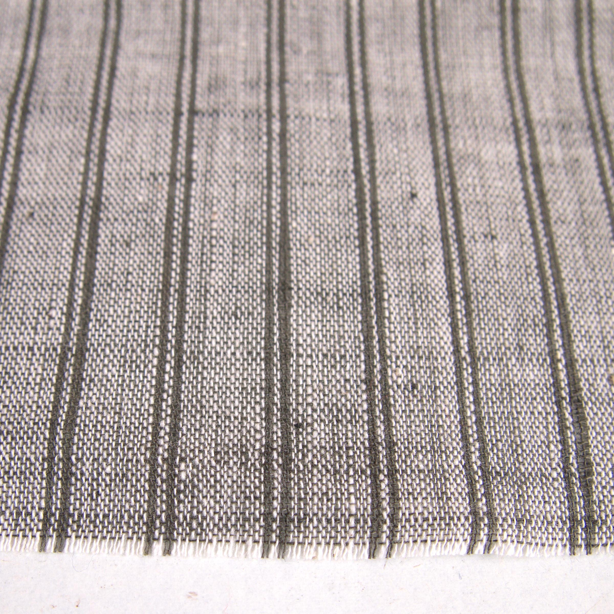 100% Handloom Woven Cotton - Stripes - White Warp, Olive Green Warp & Weft - Close Up