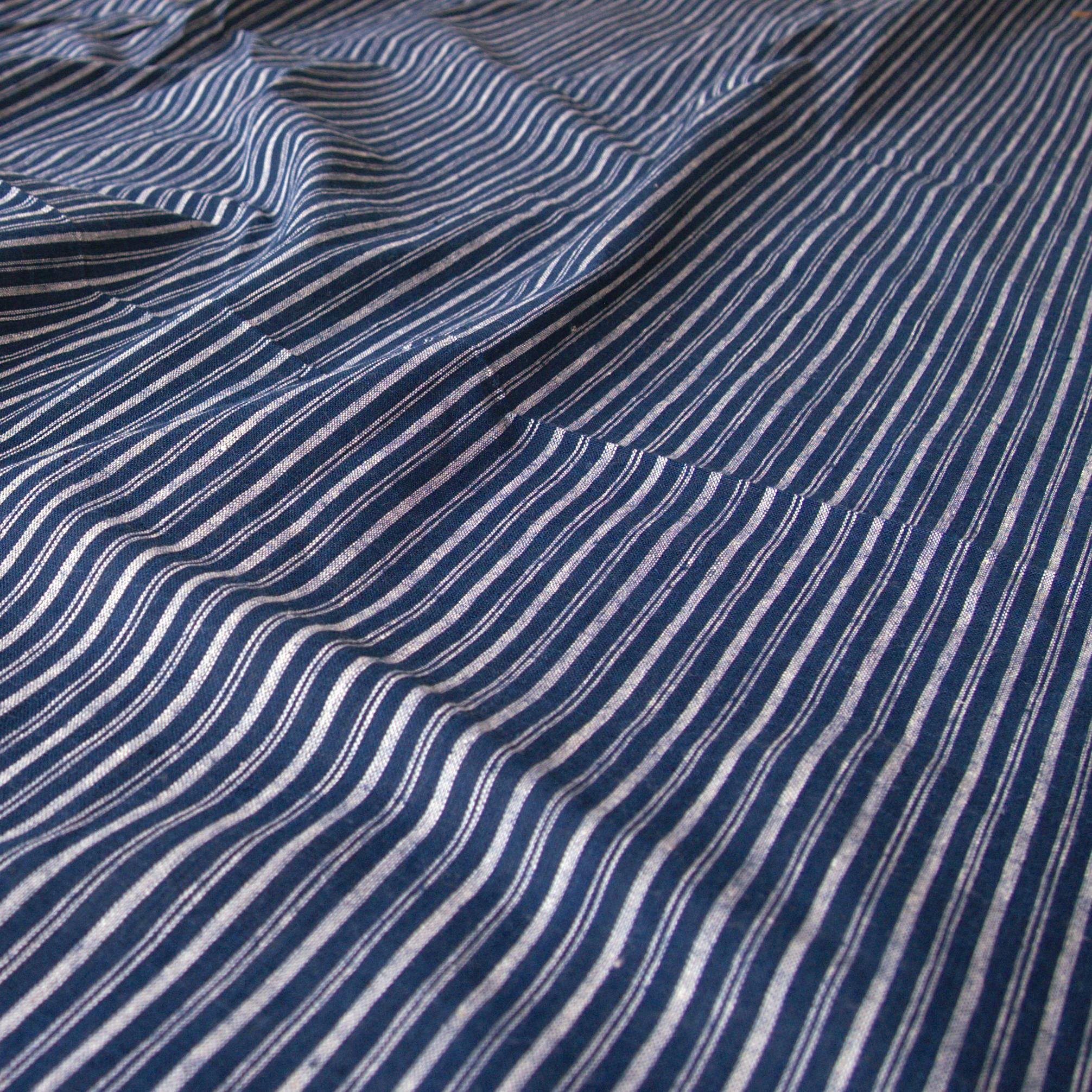 100% Handloom Woven Cotton - Double Stripes - Natural Indigo Warp & Weft, White Warp - Contrast