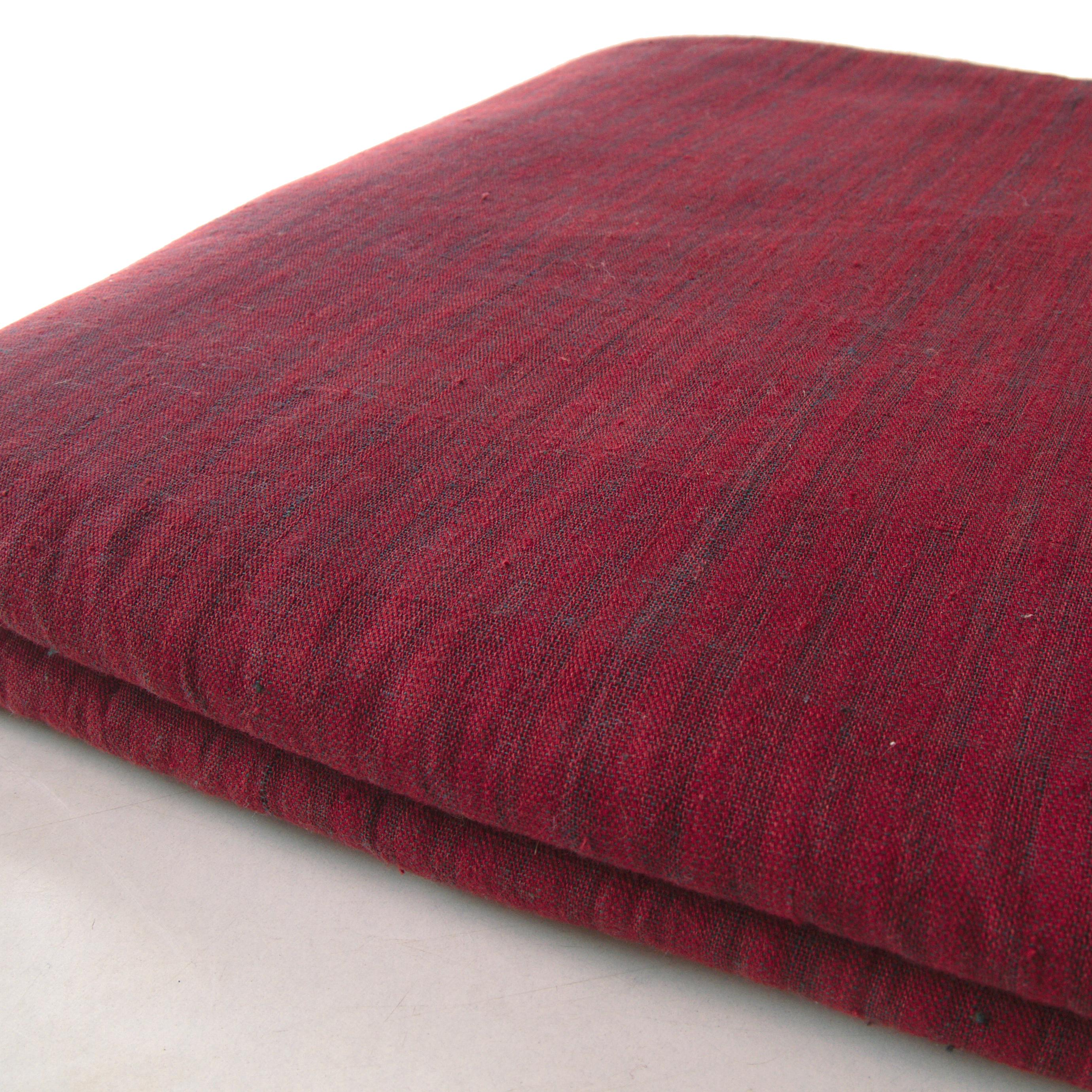 100% Handloom Woven Cotton - Dented Stripes - Red Alizarin Dented Warp, Natural Indigo Green Warp - Bolt