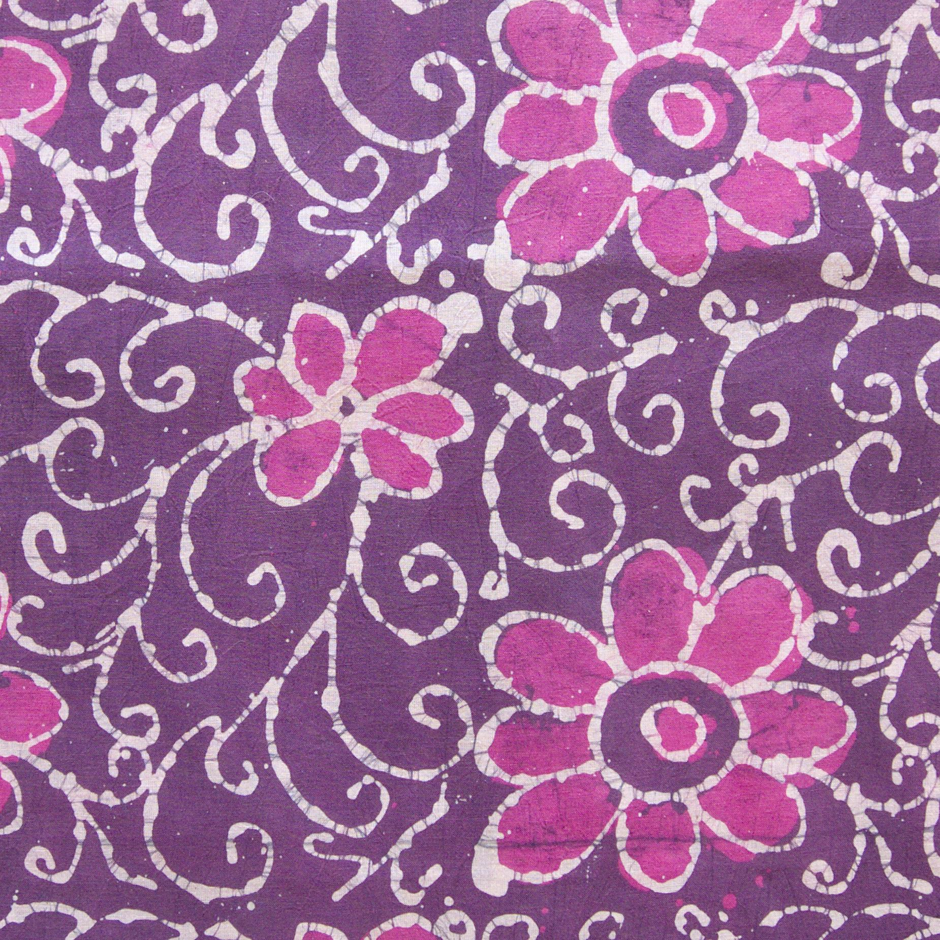 3 - SHA21 - 100% Block-Printed Batik Cotton Fabric From India - Flower Power Motif - Flat - Live