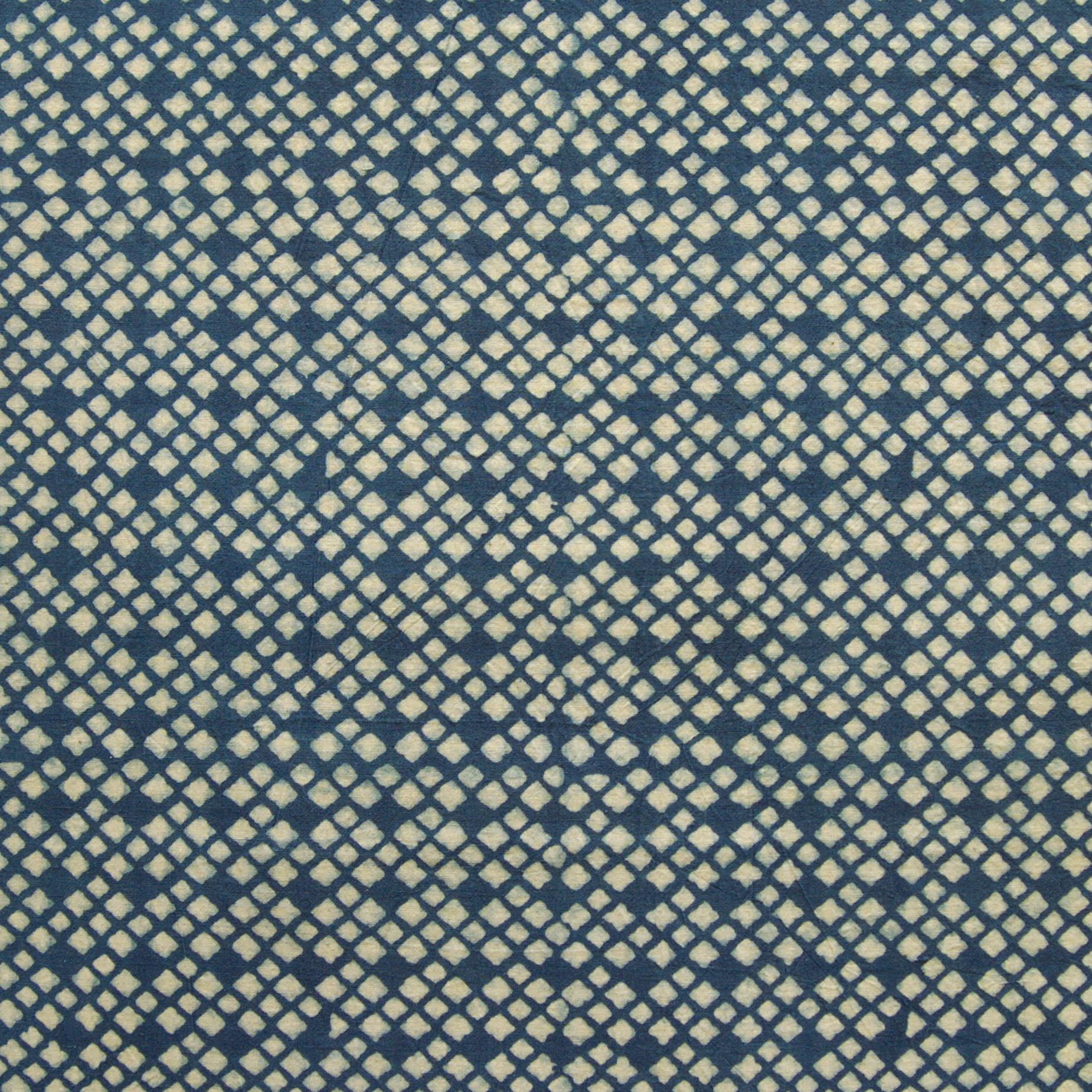 SIK28 - Indian Woodblock-Printed Cotton Fabric - Mosaic Design - Indigo Dye - Flat