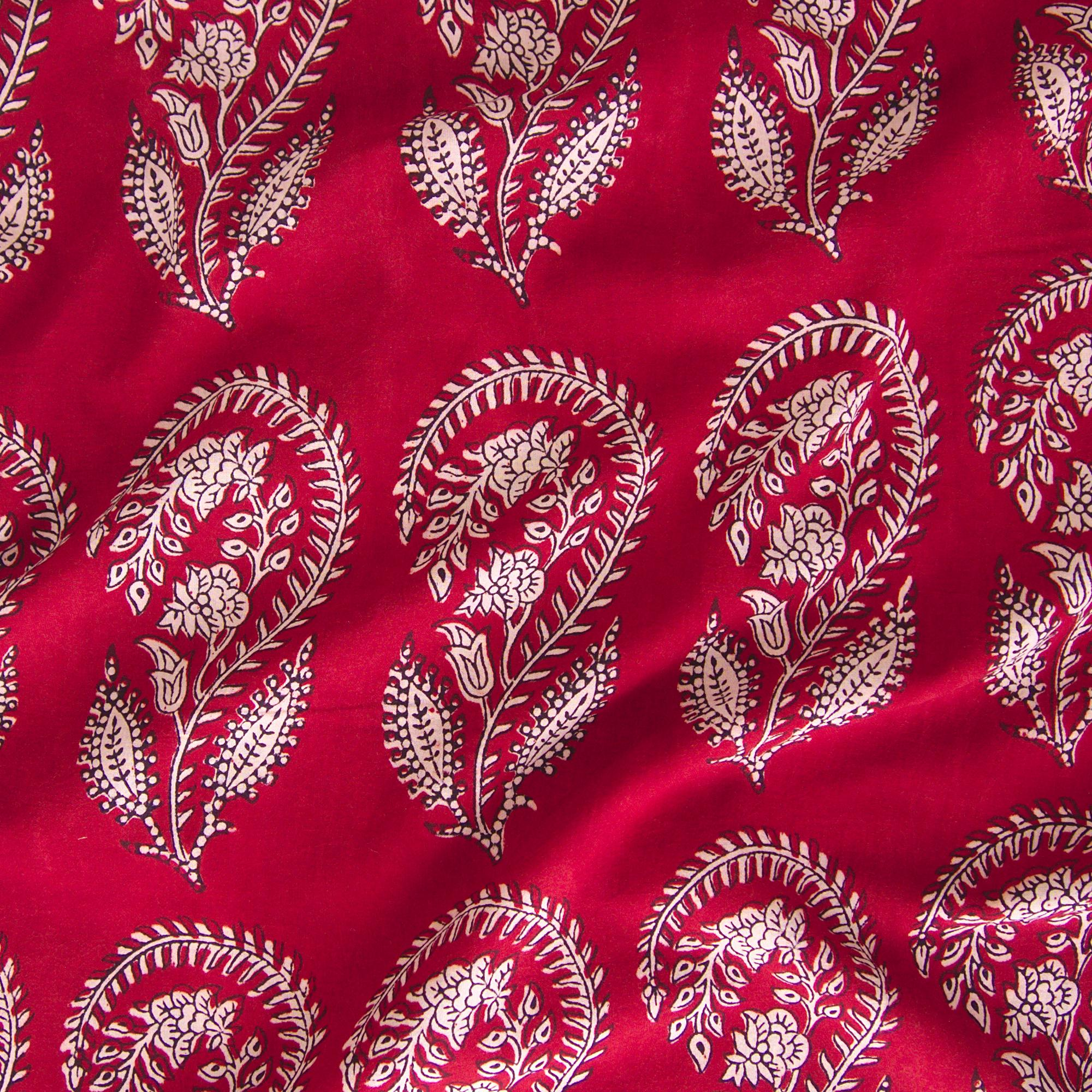 100% Block - Printed Cotton Fabric From India - Scorpion Design - Iron Rust Black & Alizarin Red Dyes - Contrast - Live