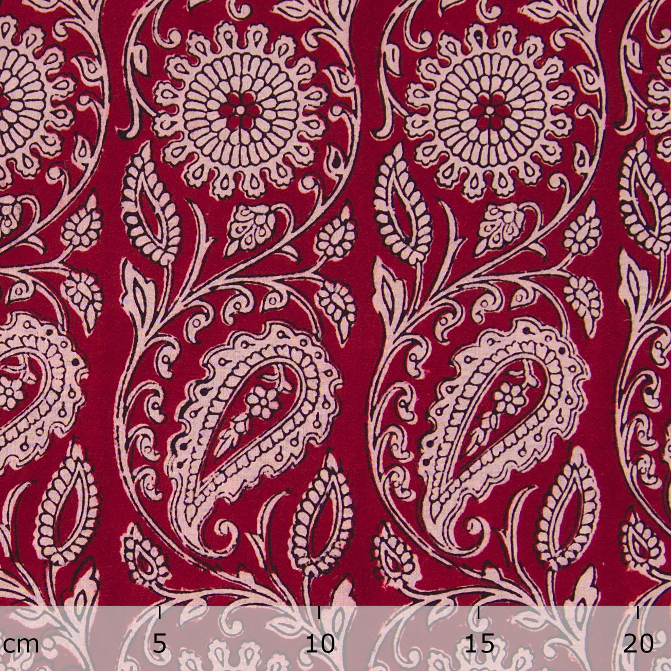 100% Block-Printed Cotton Fabric From India - Sichuan Pepper Design - Iron Rust Black & Alizarin Red Dyes - Ruler - Live