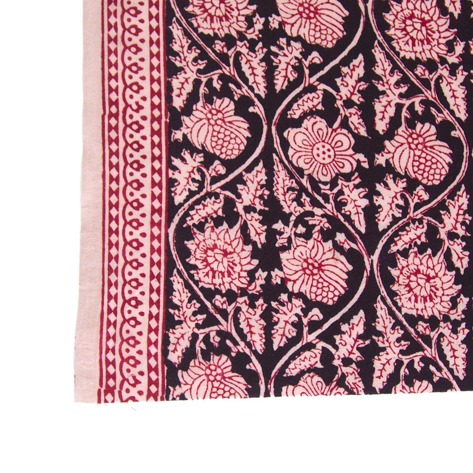 100% Block-Printed Cotton Fabric From India - Vinea Design - Iron Rust Black & Alizarin Red Dyes - Border - Live