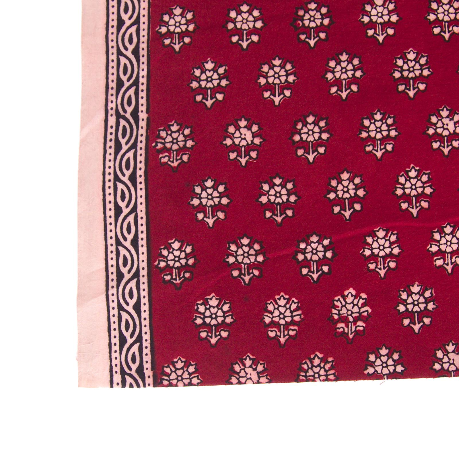 100% Block-Printed Cotton Fabric From India - New Perspective Design - Iron Rust Black & Alizarin Red Dyes - Border - Live